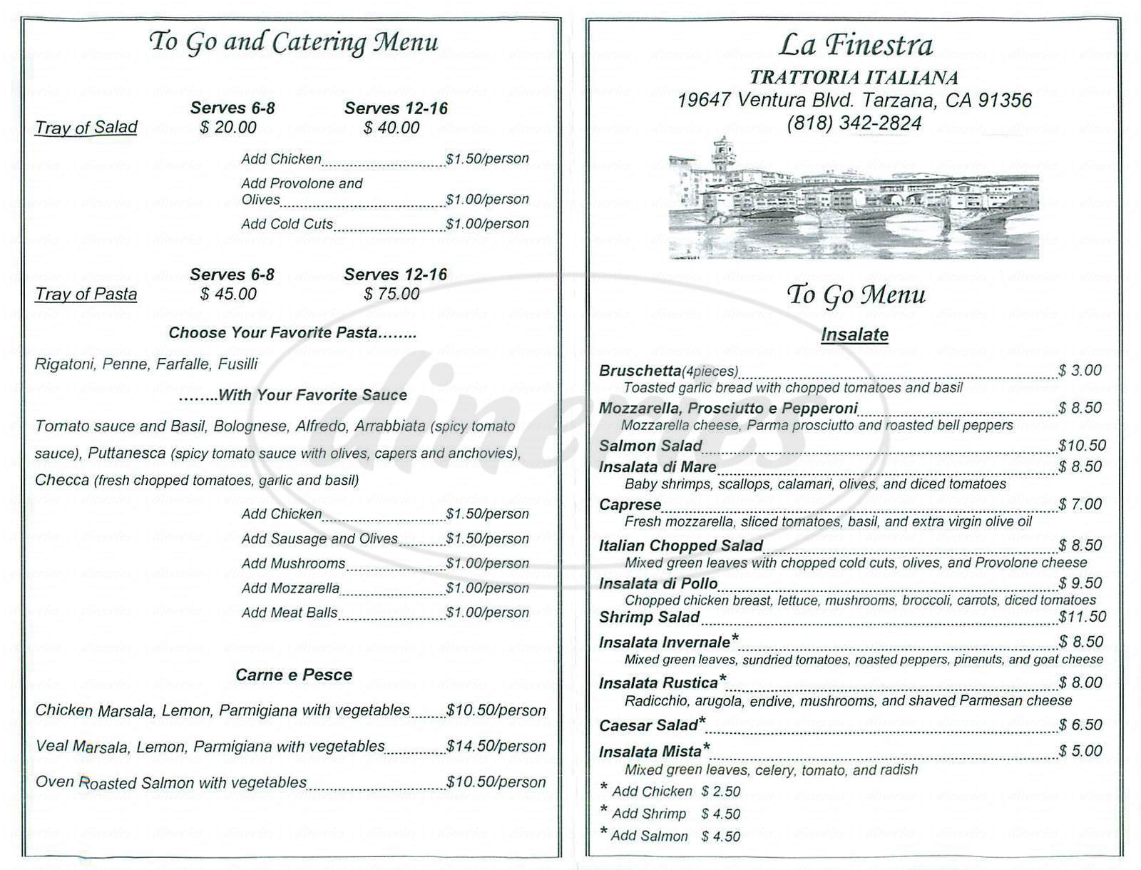 menu for La Finestra