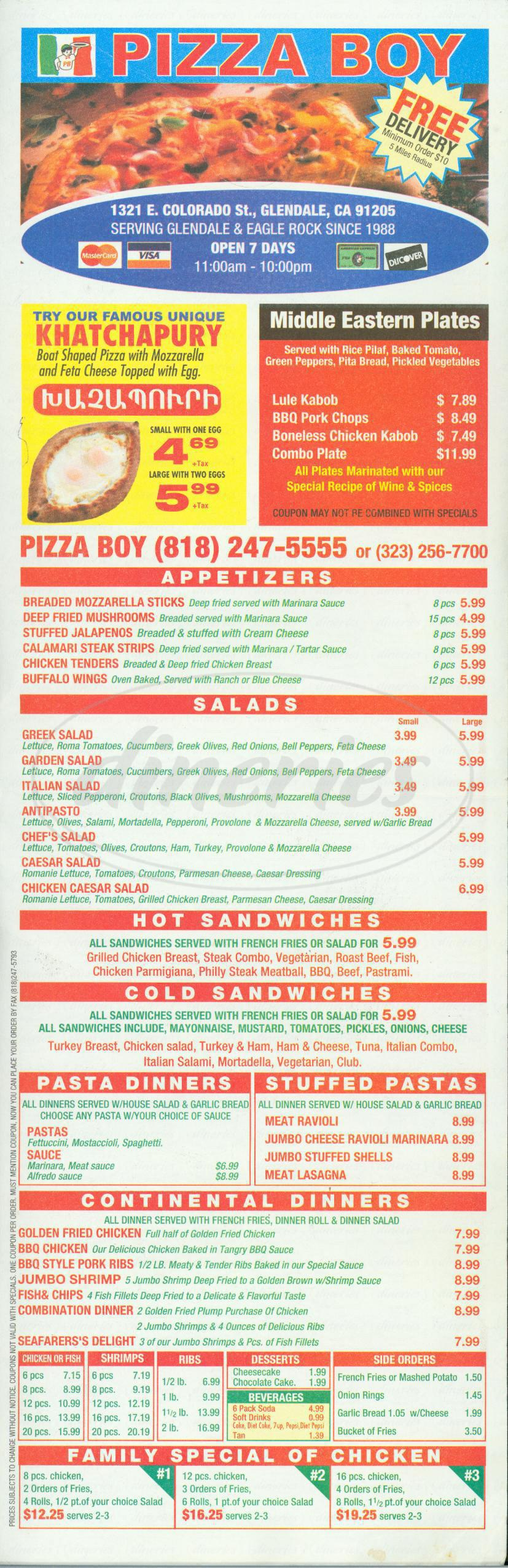 menu for Pizza Boy