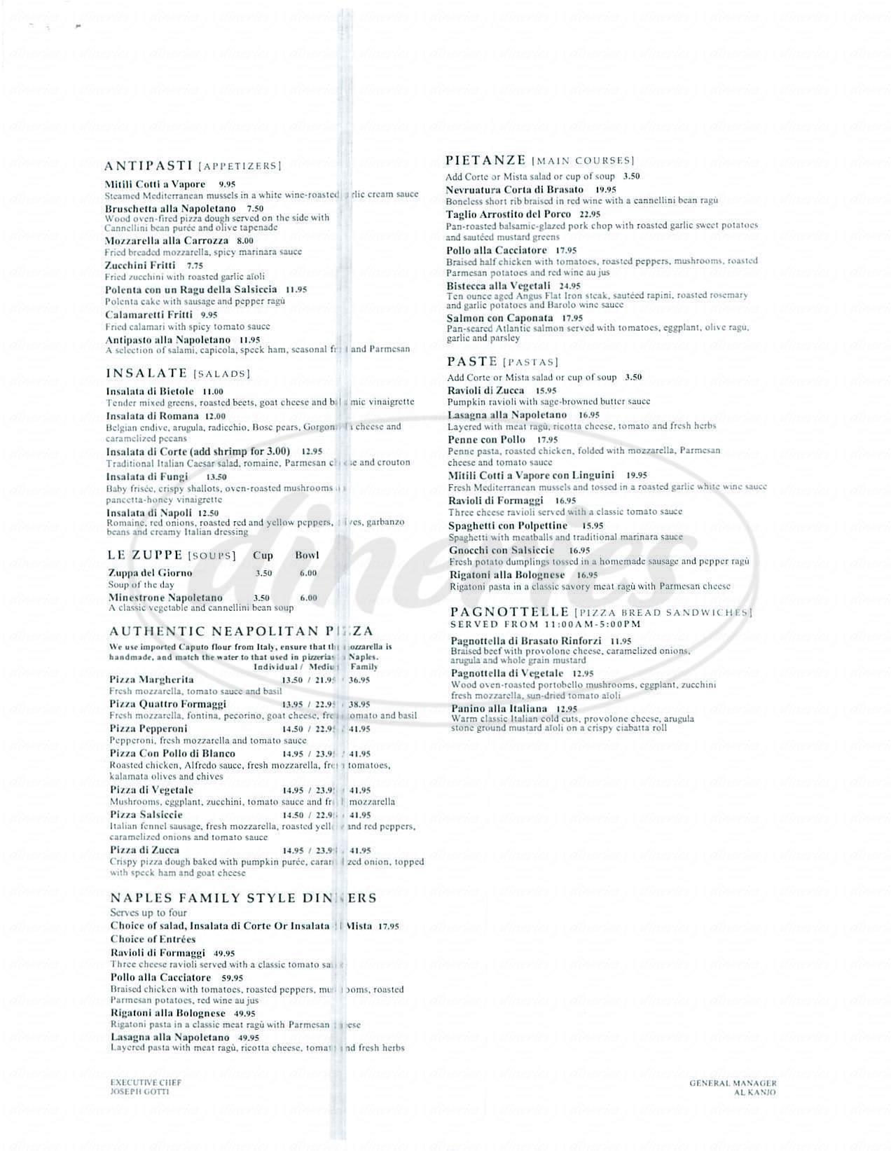 menu for Naples Ristorante e Pizzeria