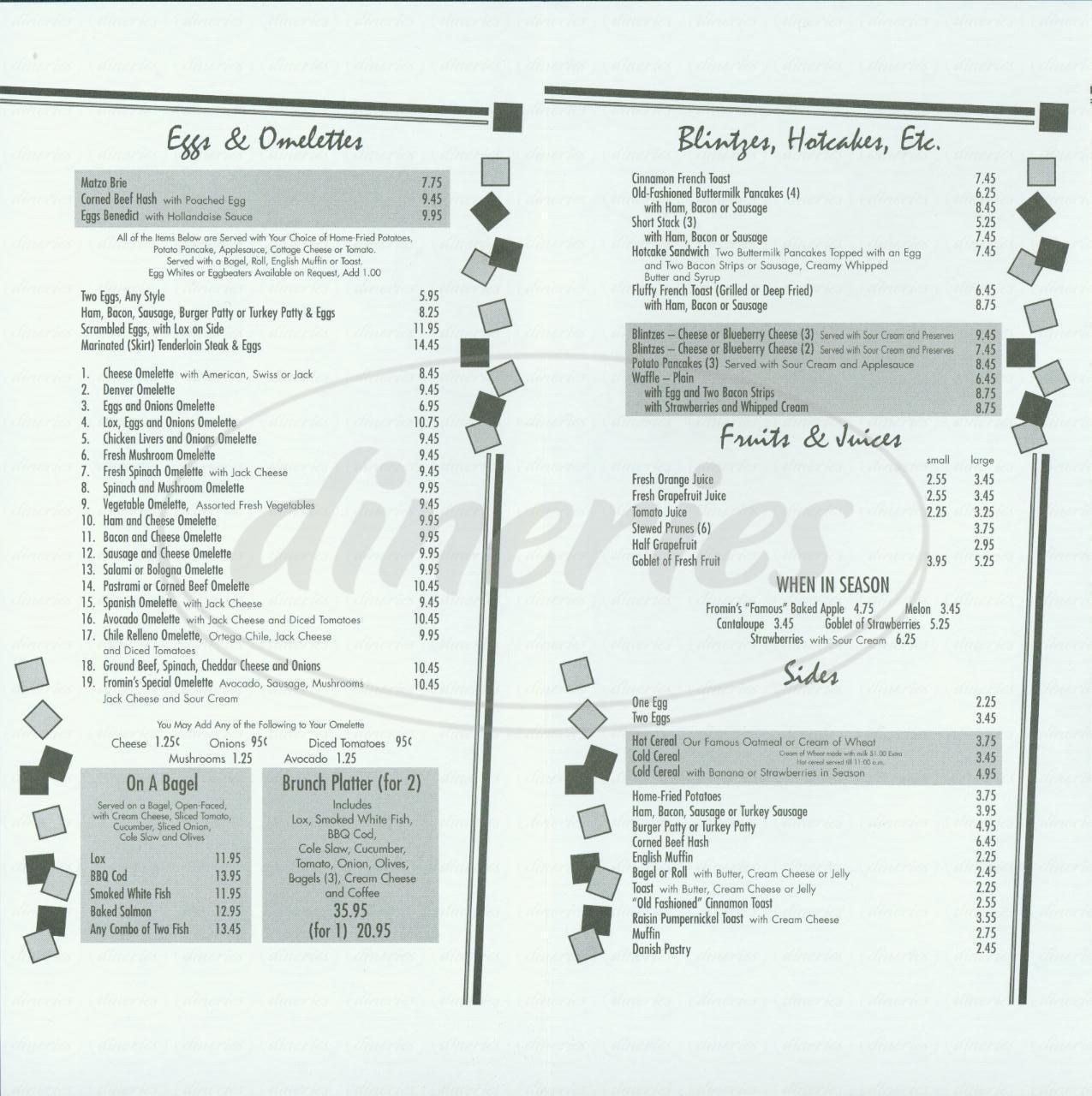 menu for Fromin's Restaurant