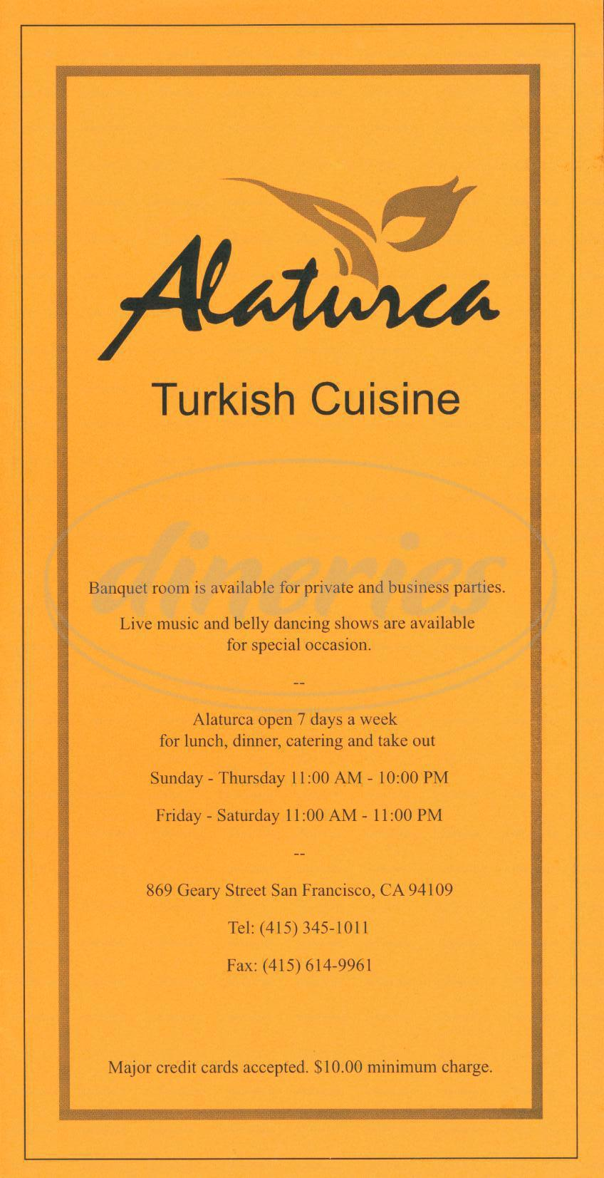 menu for Alaturca