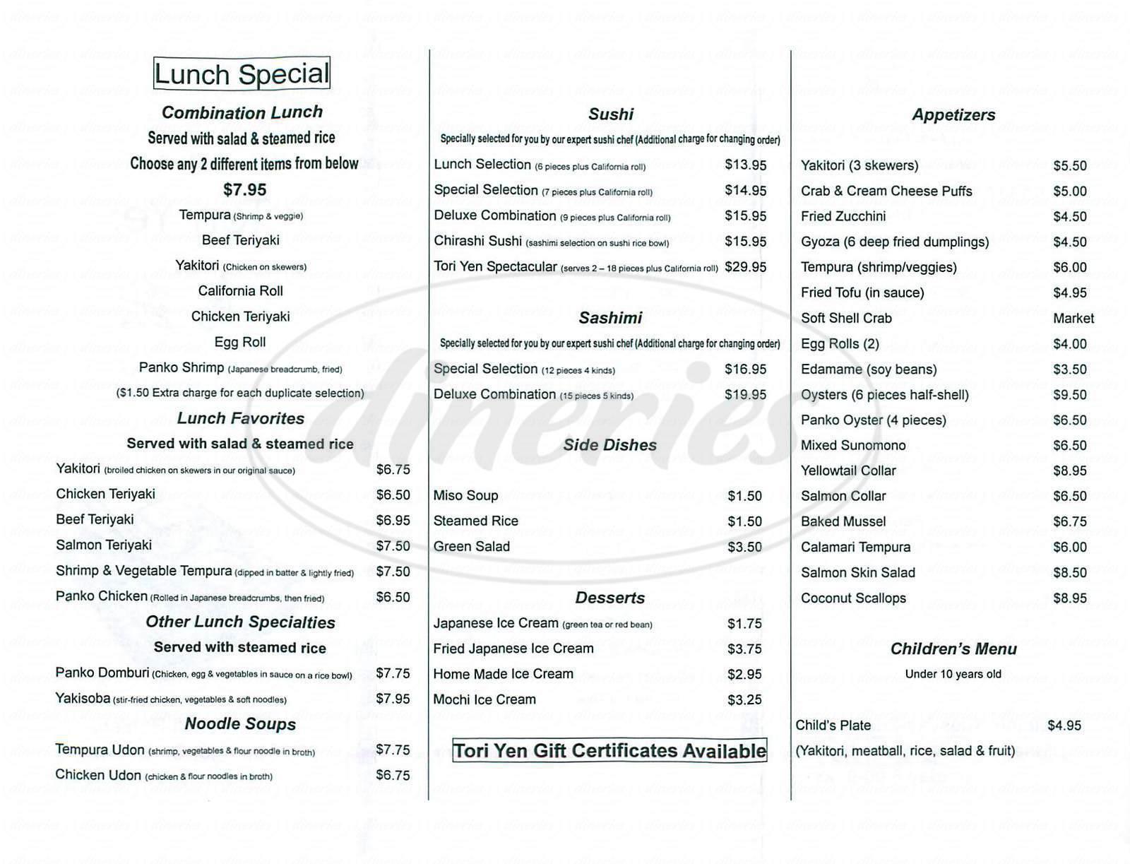 menu for Tori Yen