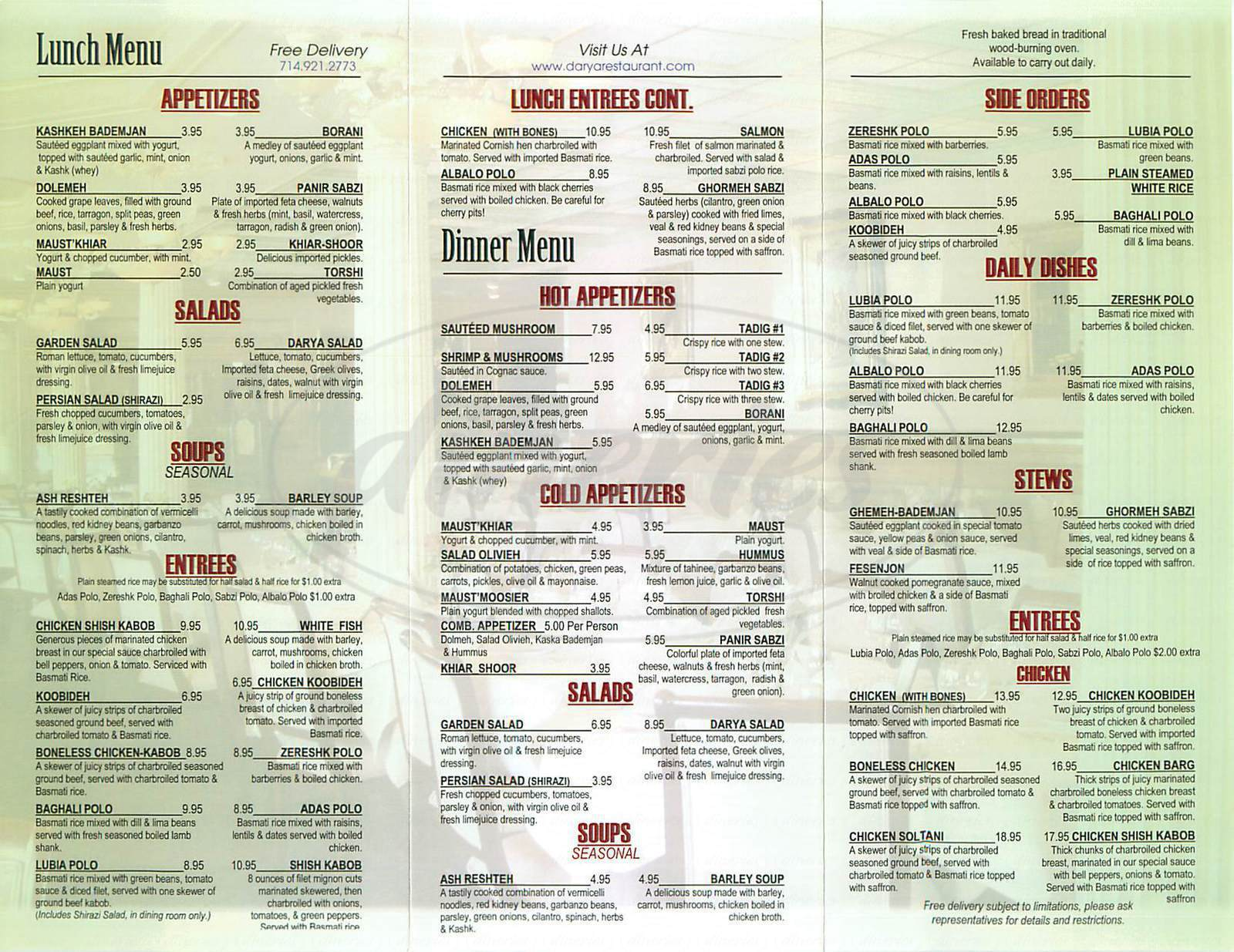 menu for Darya Restaurant
