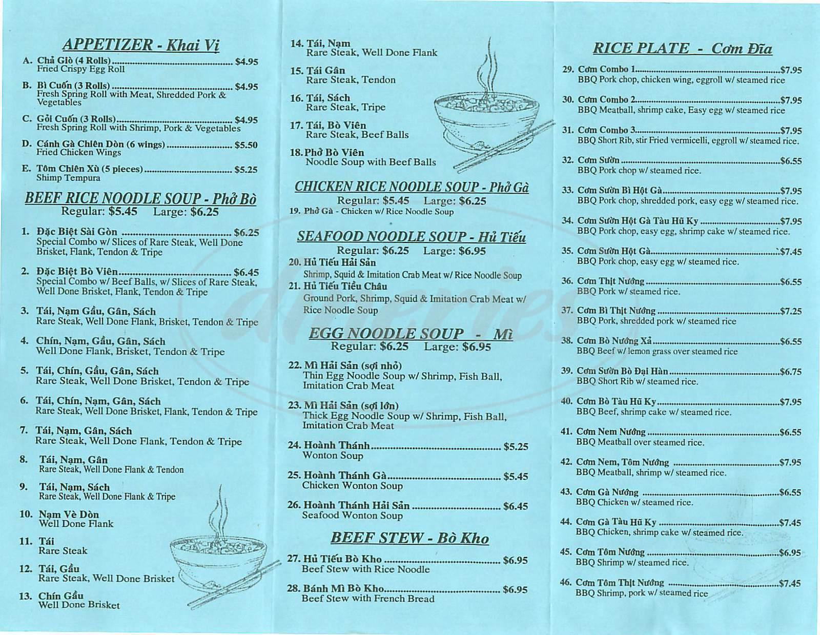 menu for Pho's Saigon