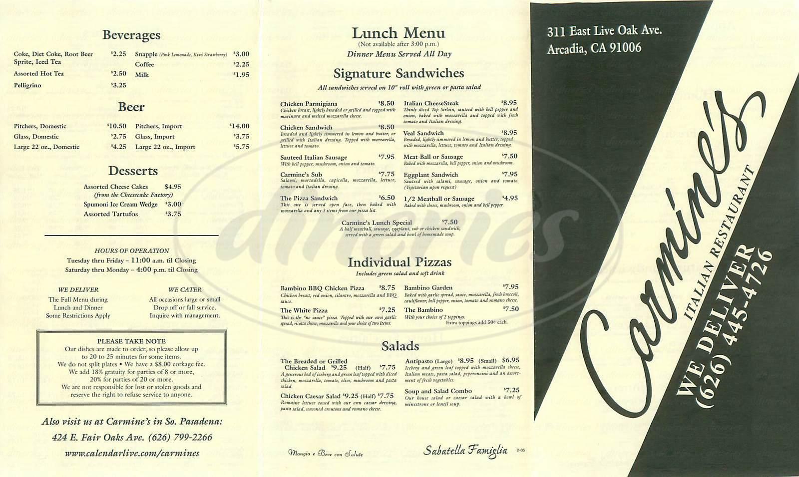 menu for Carmine's Italian Restaurant