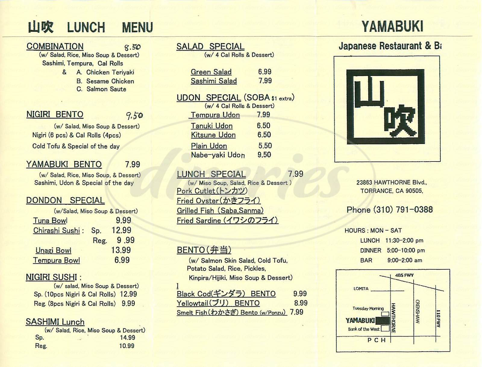 menu for Yamabuki Restaurant & Bar