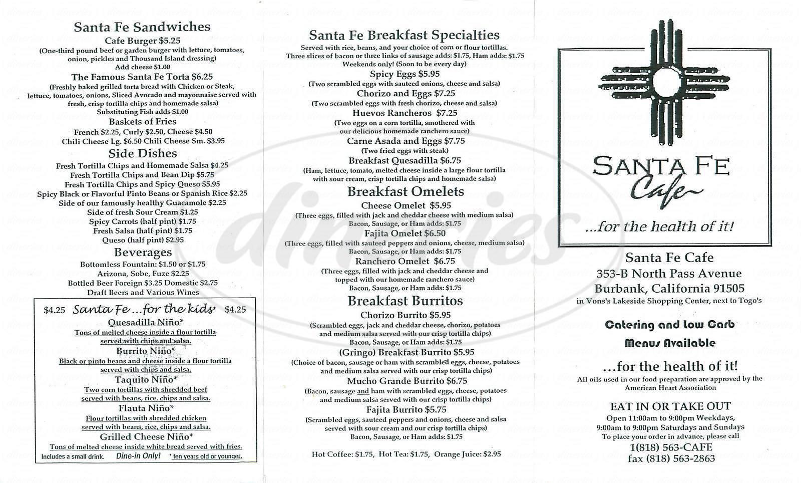 menu for Santa Fe Café