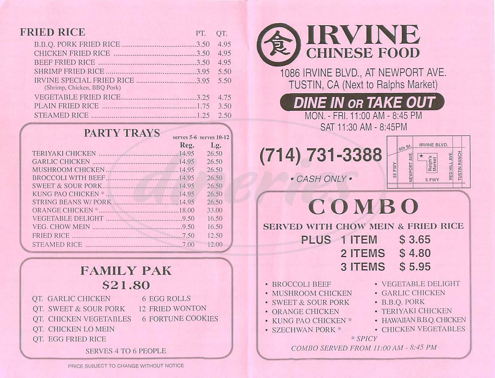 menu for Irvine Chinese Food