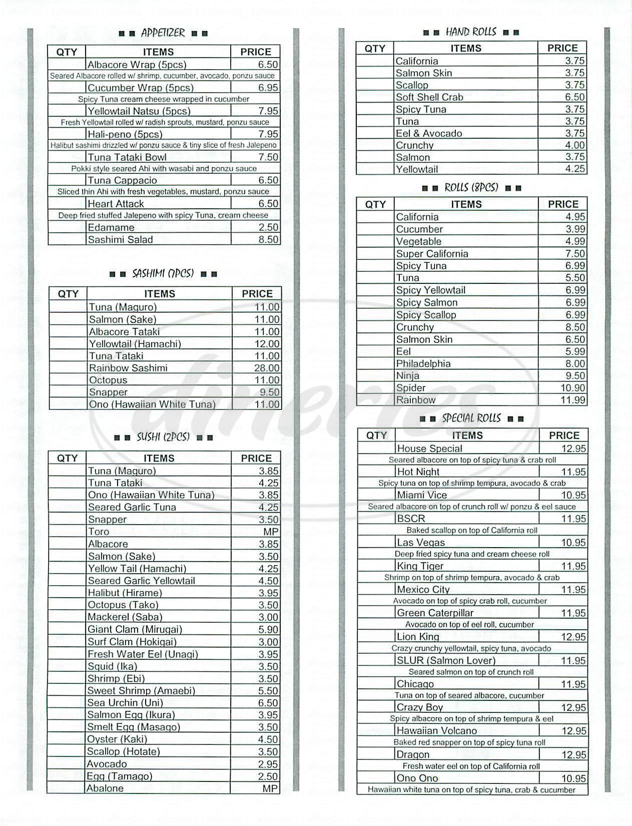 menu for Kai Sushi
