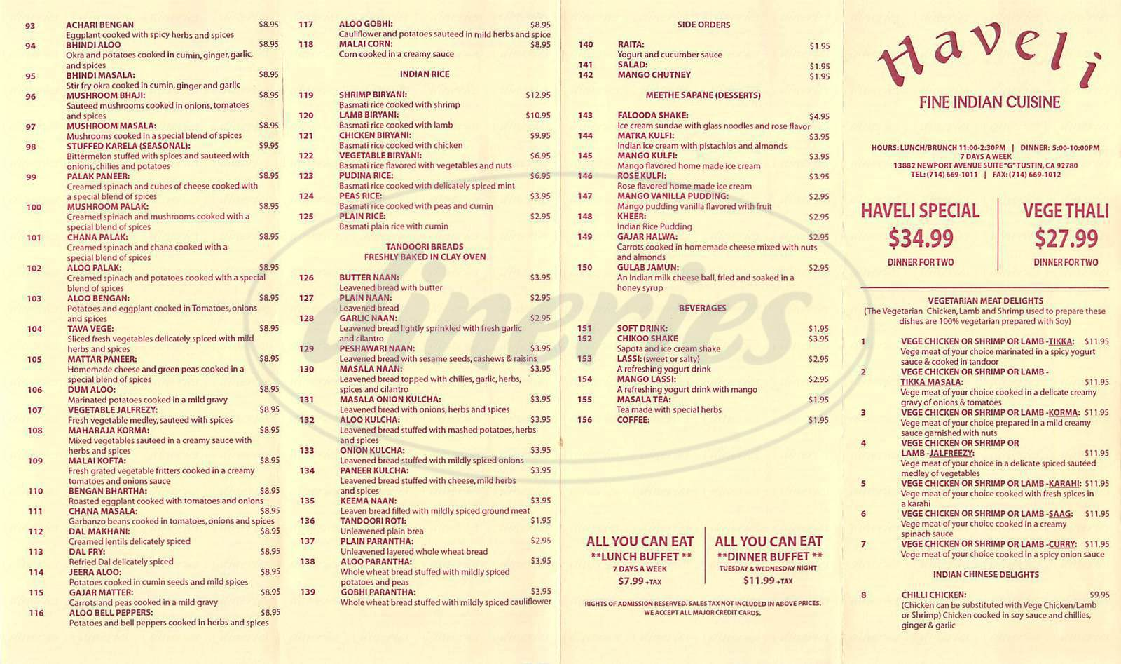 menu for Haveli Fine Indian Cuisine
