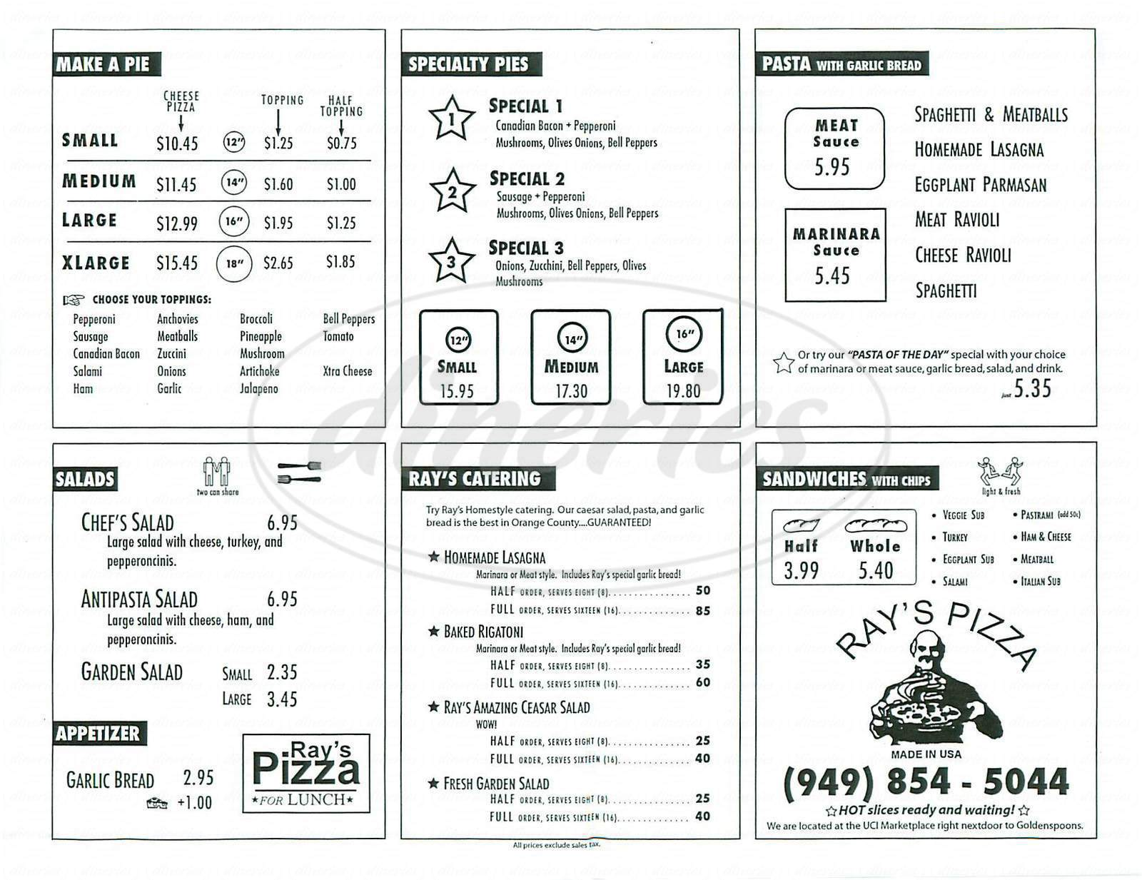 menu for Ray's Pizza