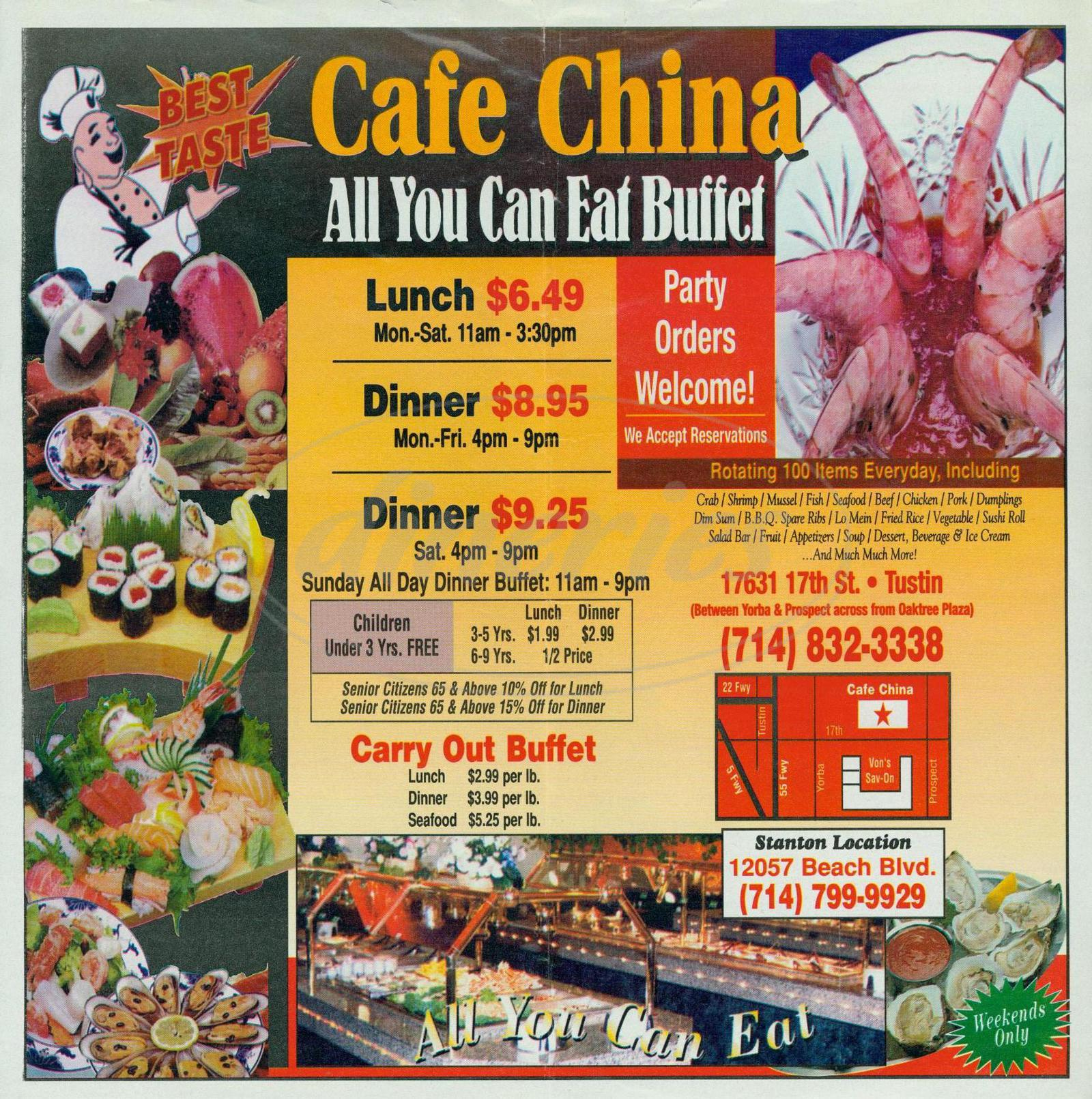 menu for Café China