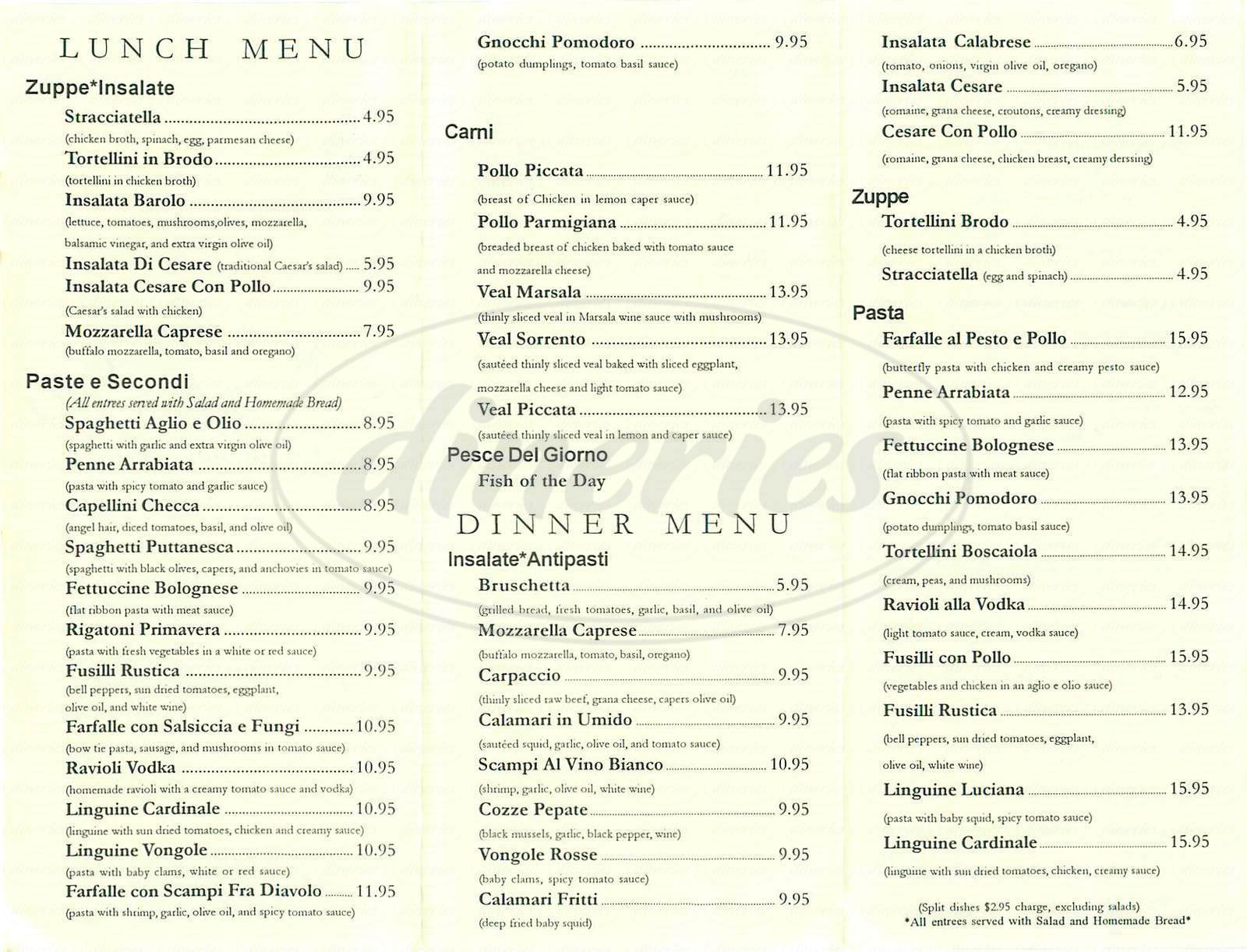 menu for Barolo Italian Café
