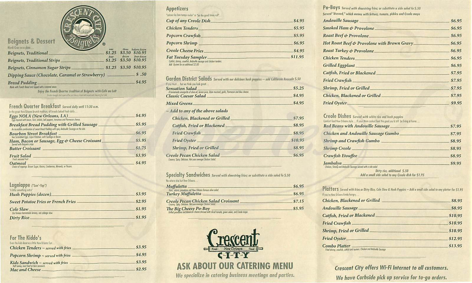 menu for Crescent City
