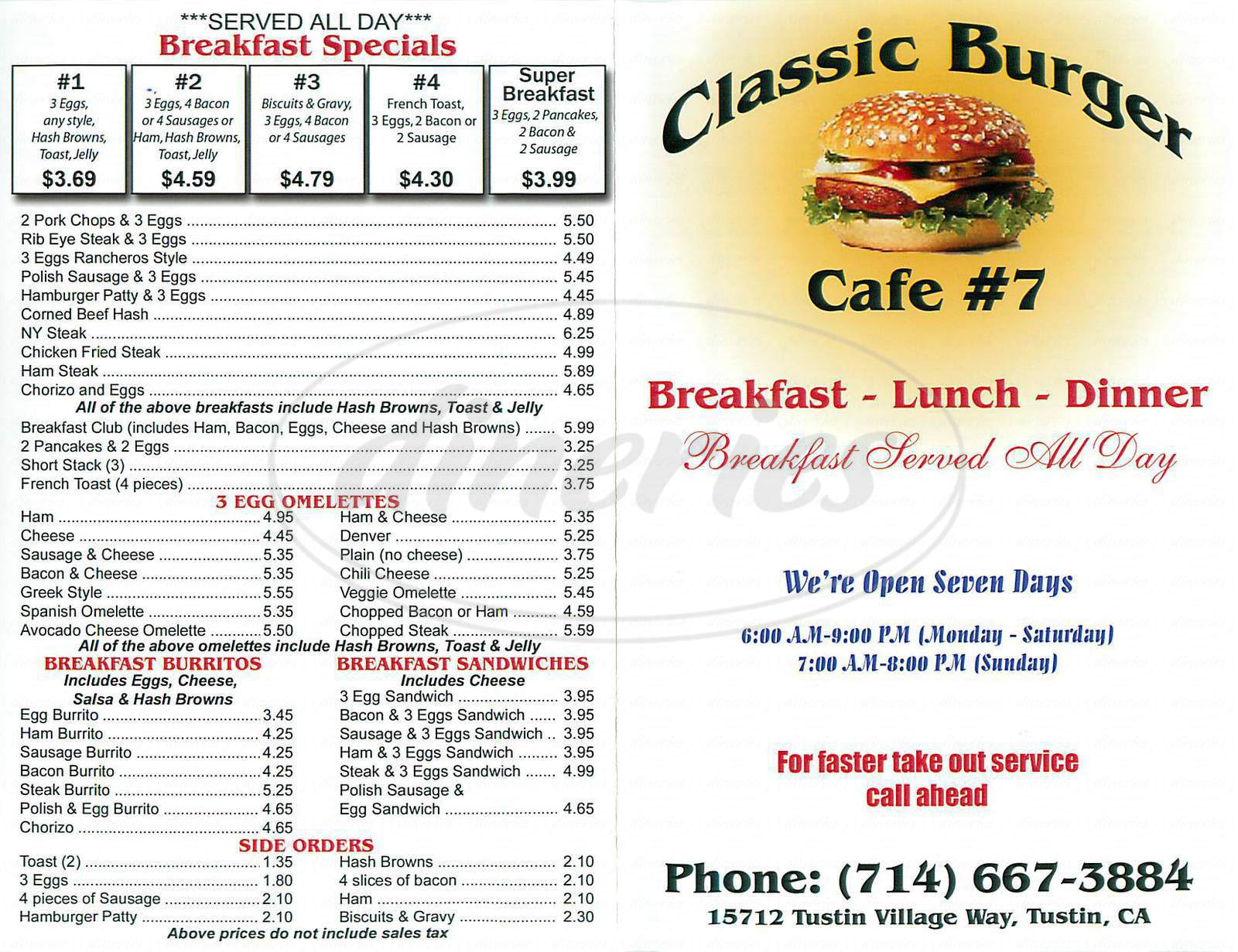 menu for Classic Burger 7