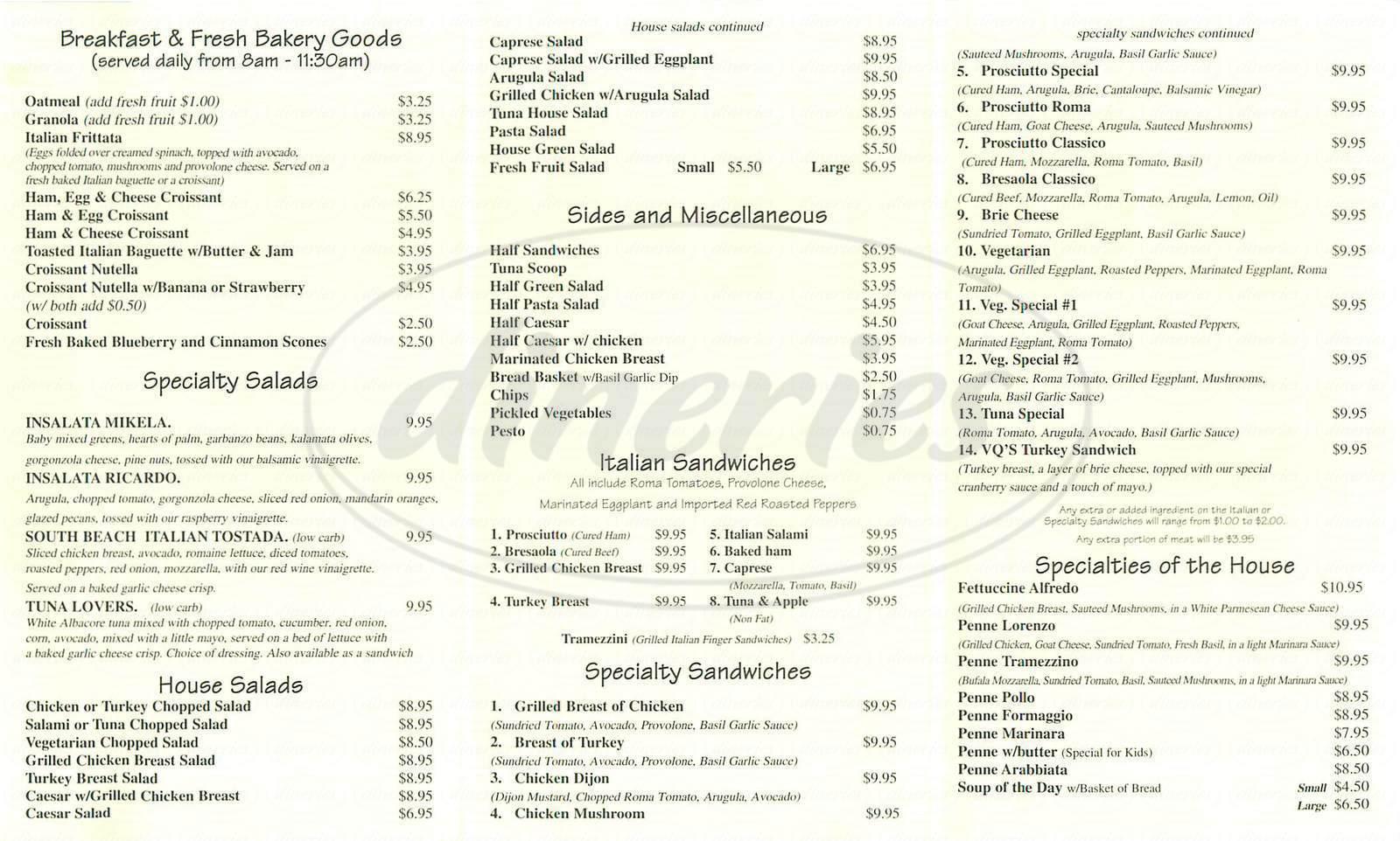 menu for Il Tramezzino