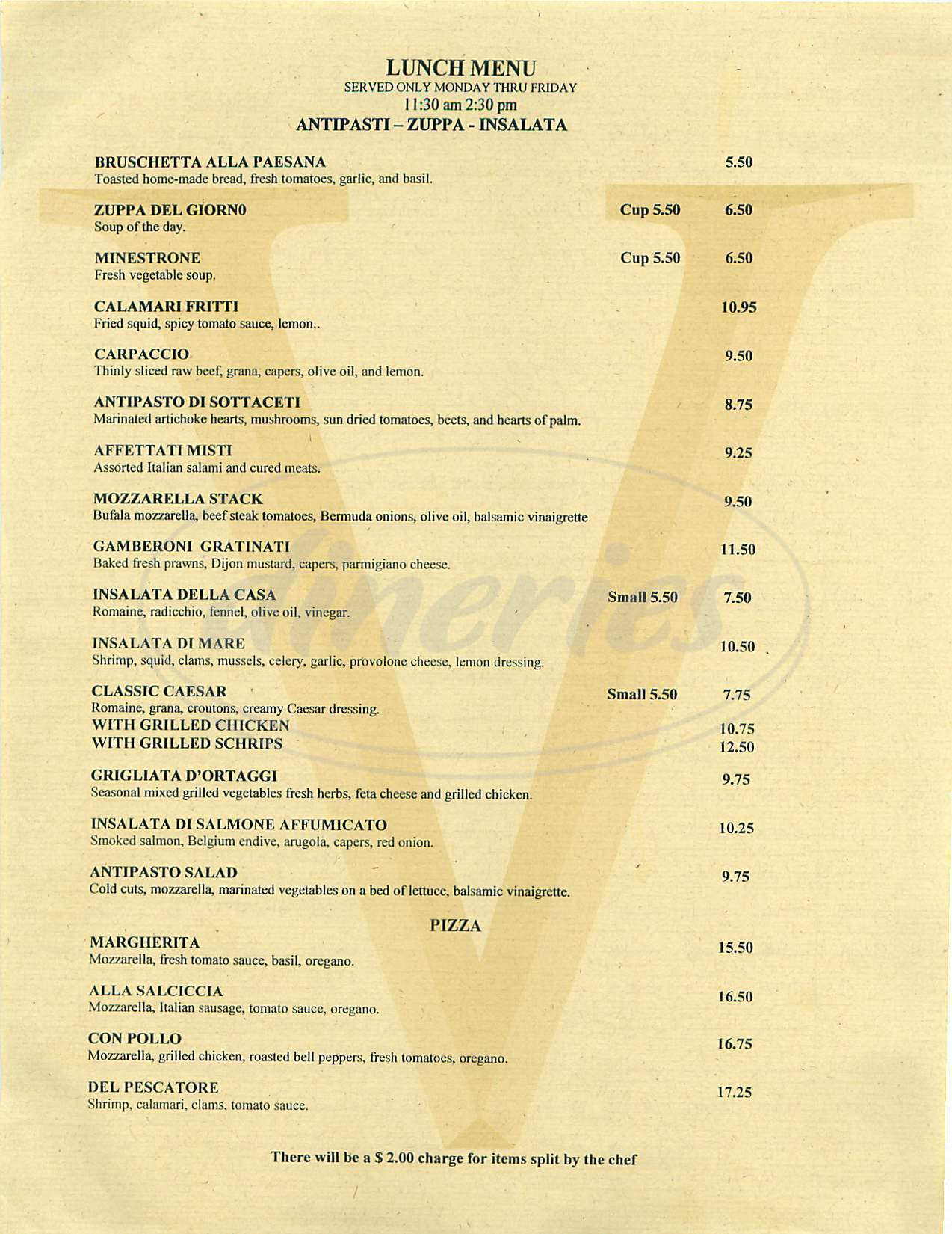menu for Vessia Ristorante