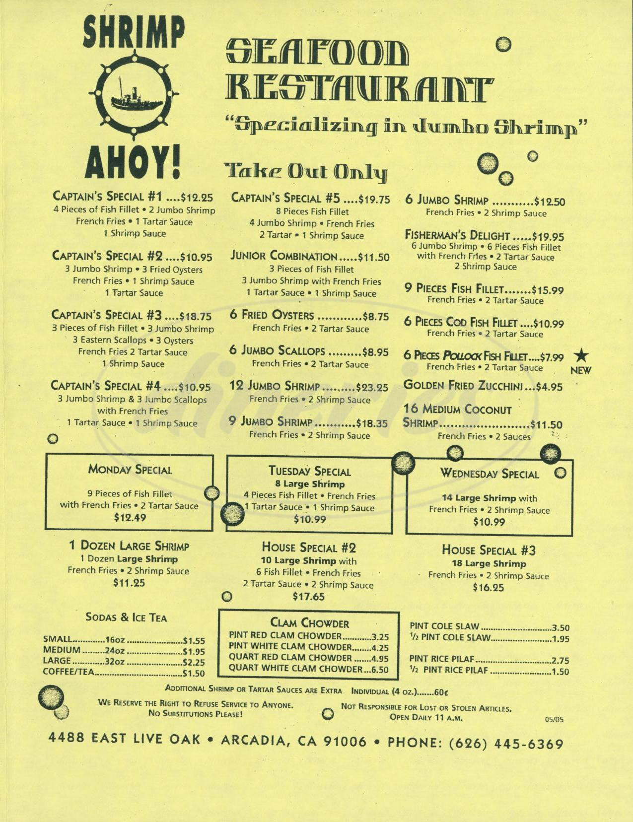 menu for Shrimp Ahoy