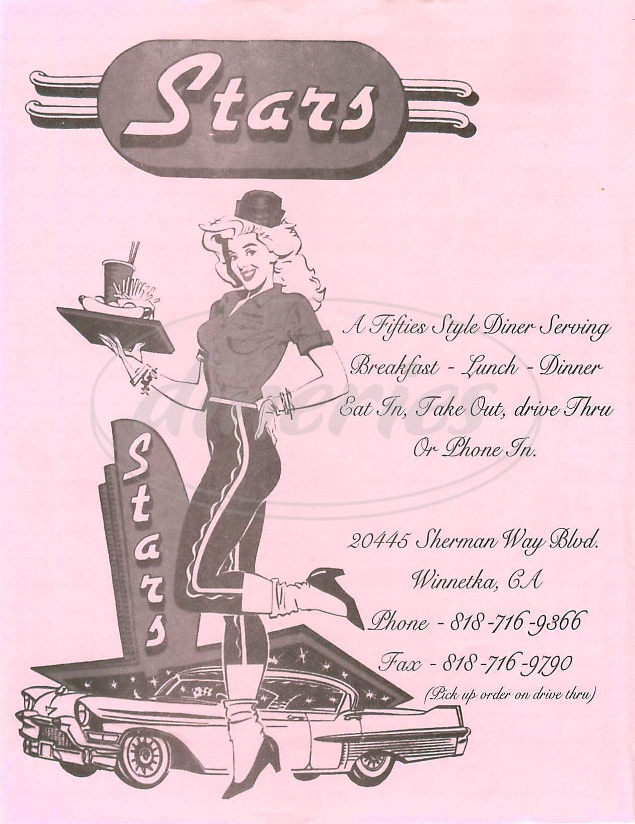 menu for Stars Drive In