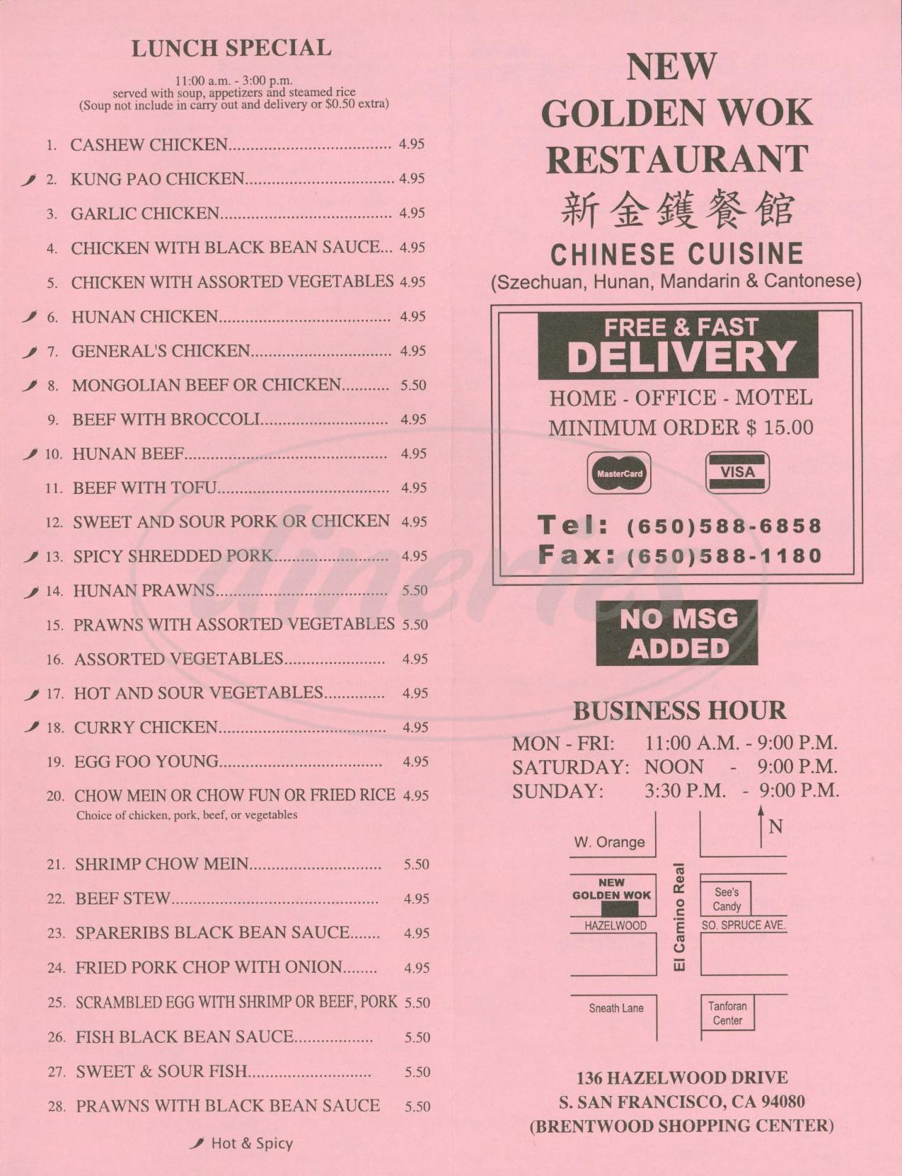 menu for New Golden Wok