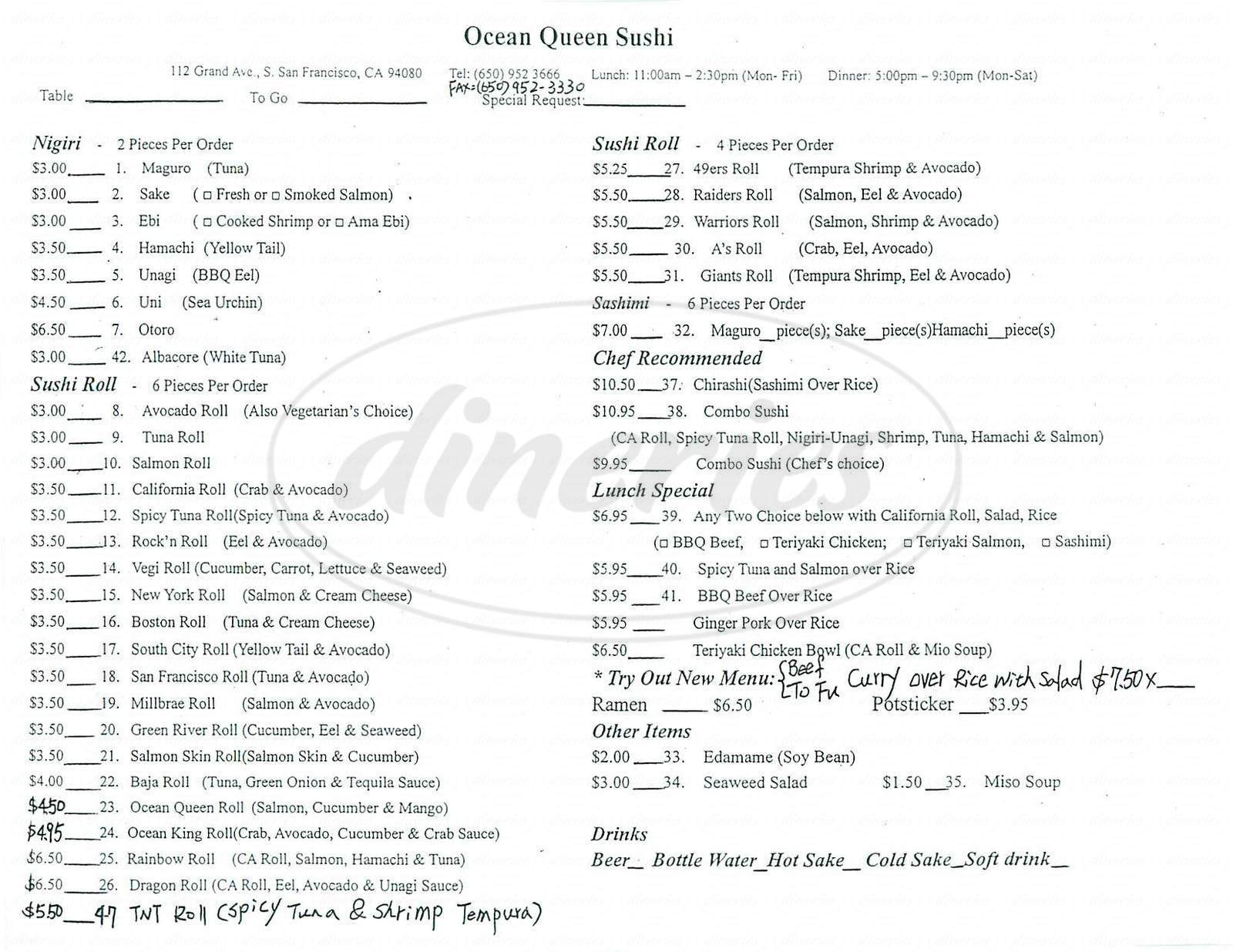 menu for Ocean Queen Sushi