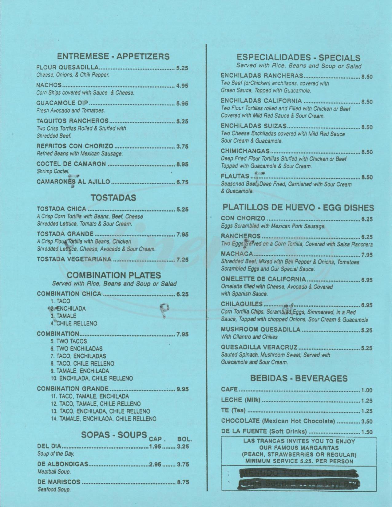 menu for Rancho Las Trancas