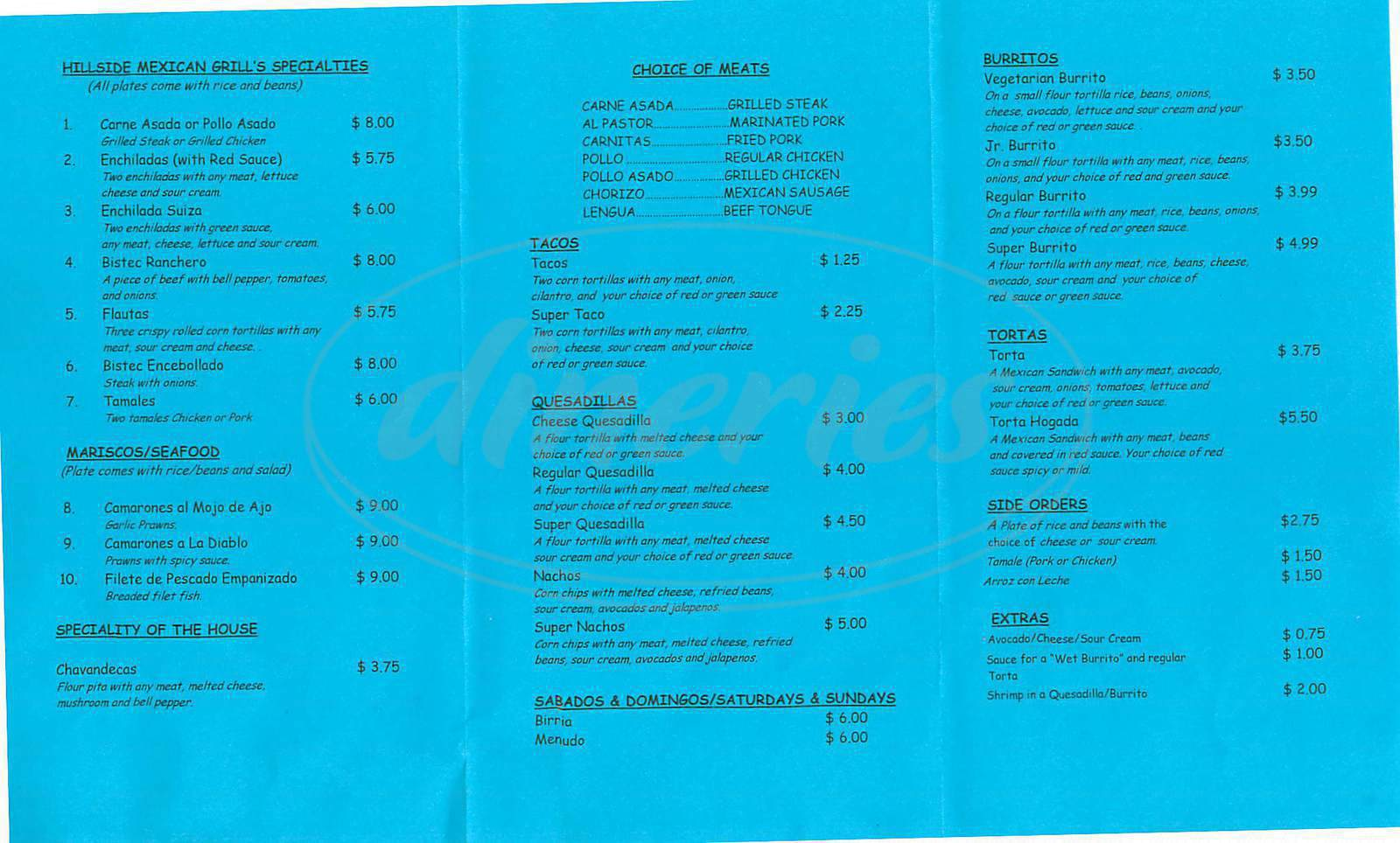 menu for Hillside Mexican Grill