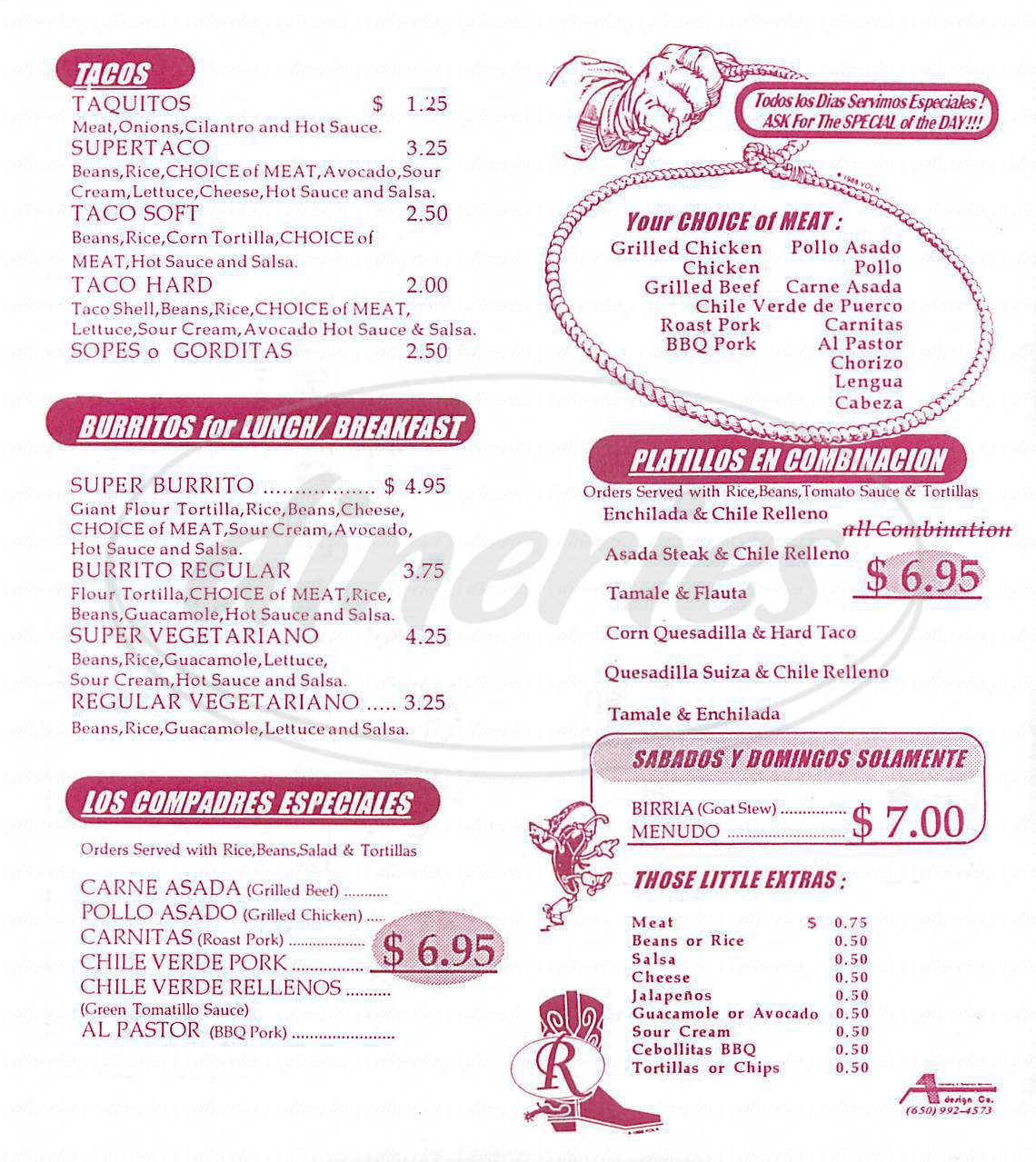 menu for Los Compadres Taqueria