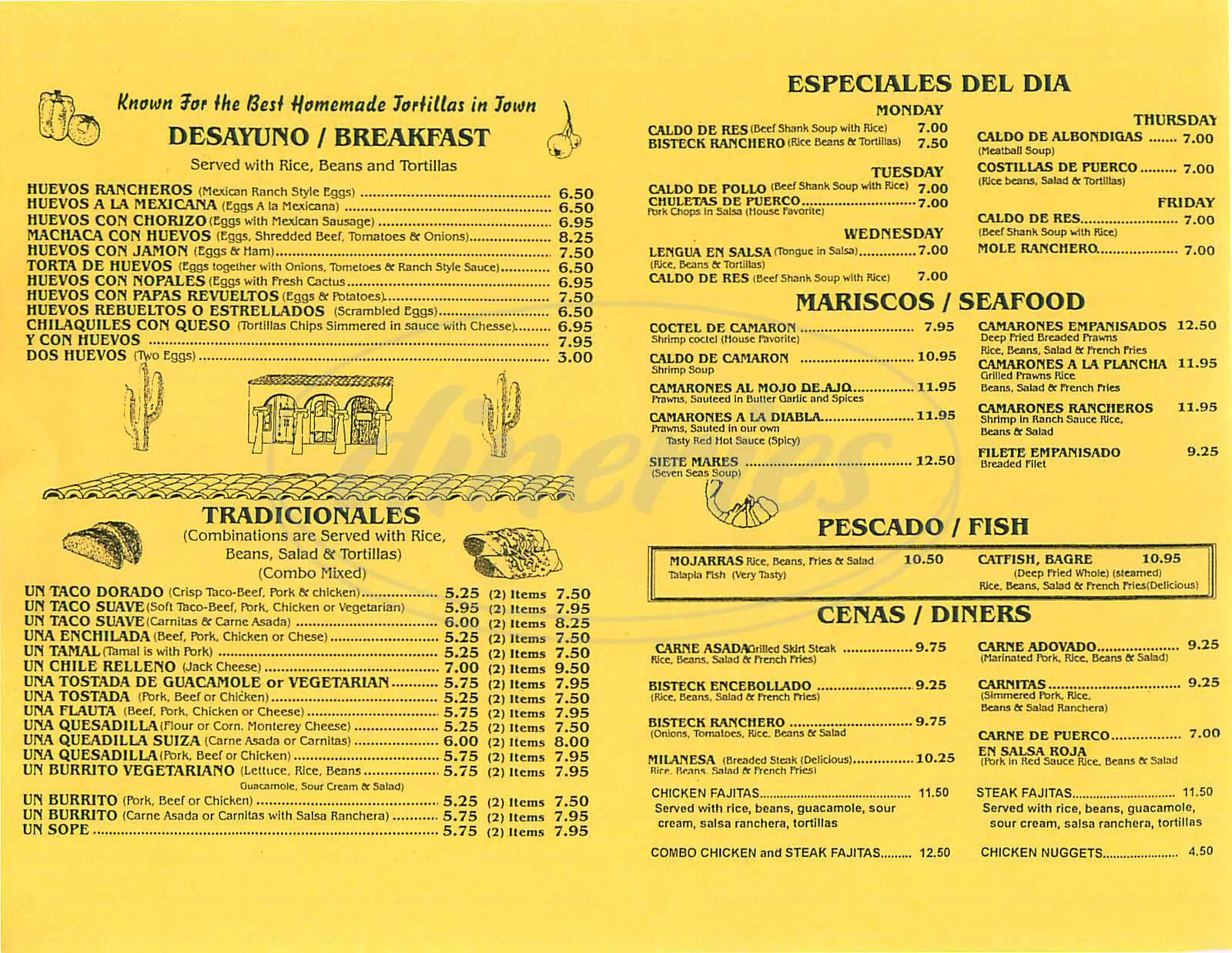 menu for La Perla