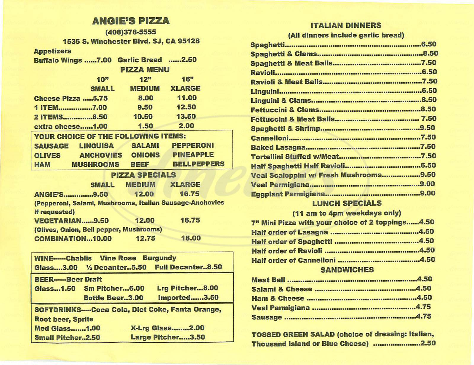 menu for Angies Pizza