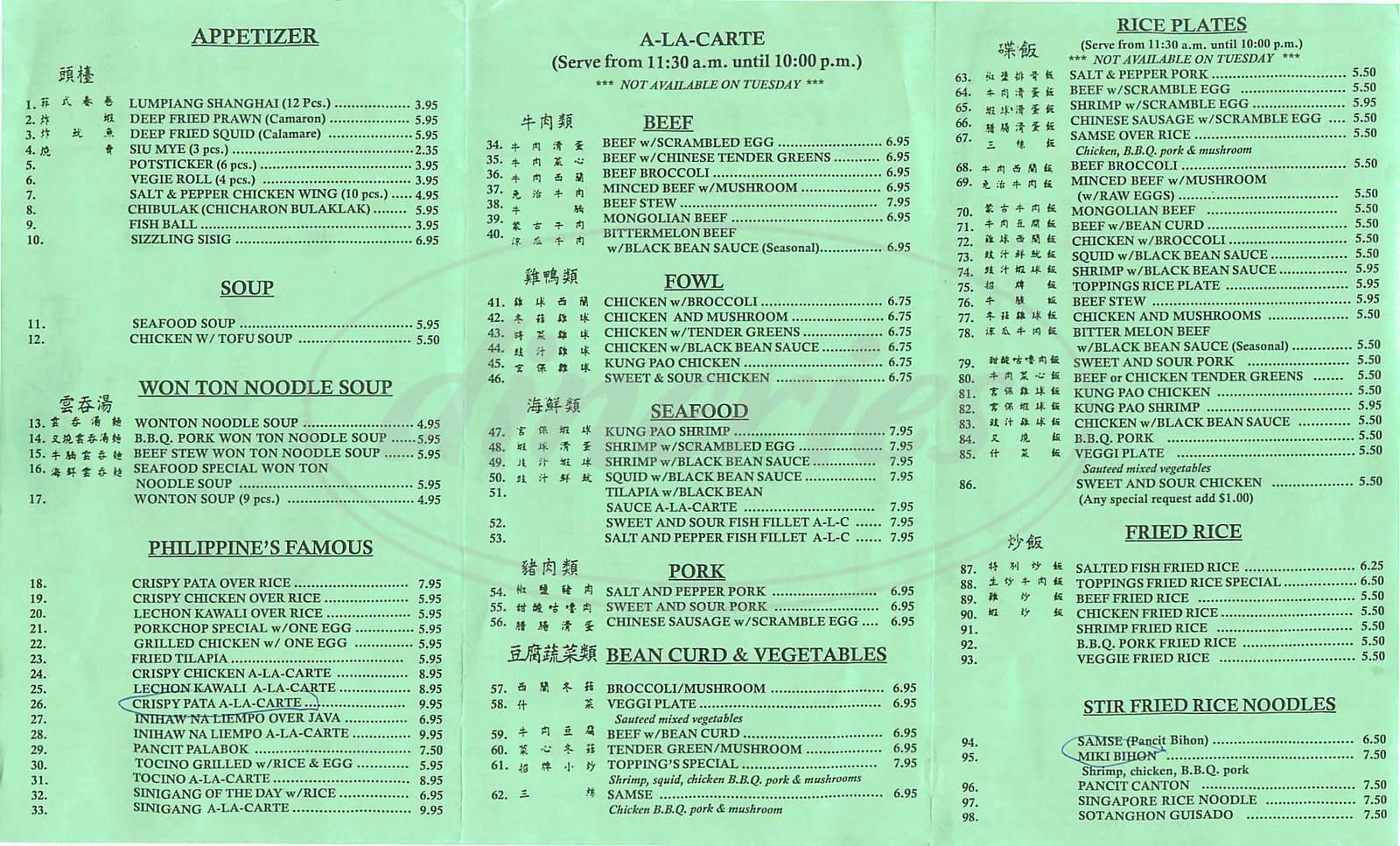 menu for Toppings Restaurant