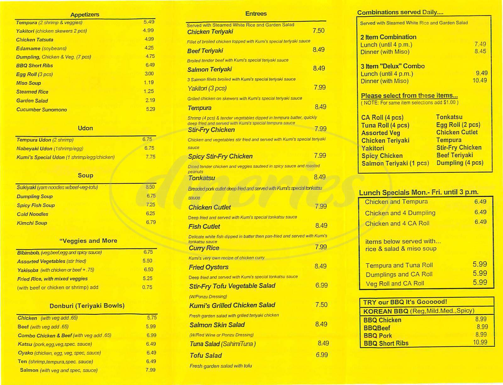 menu for Kumi's Teriyaki