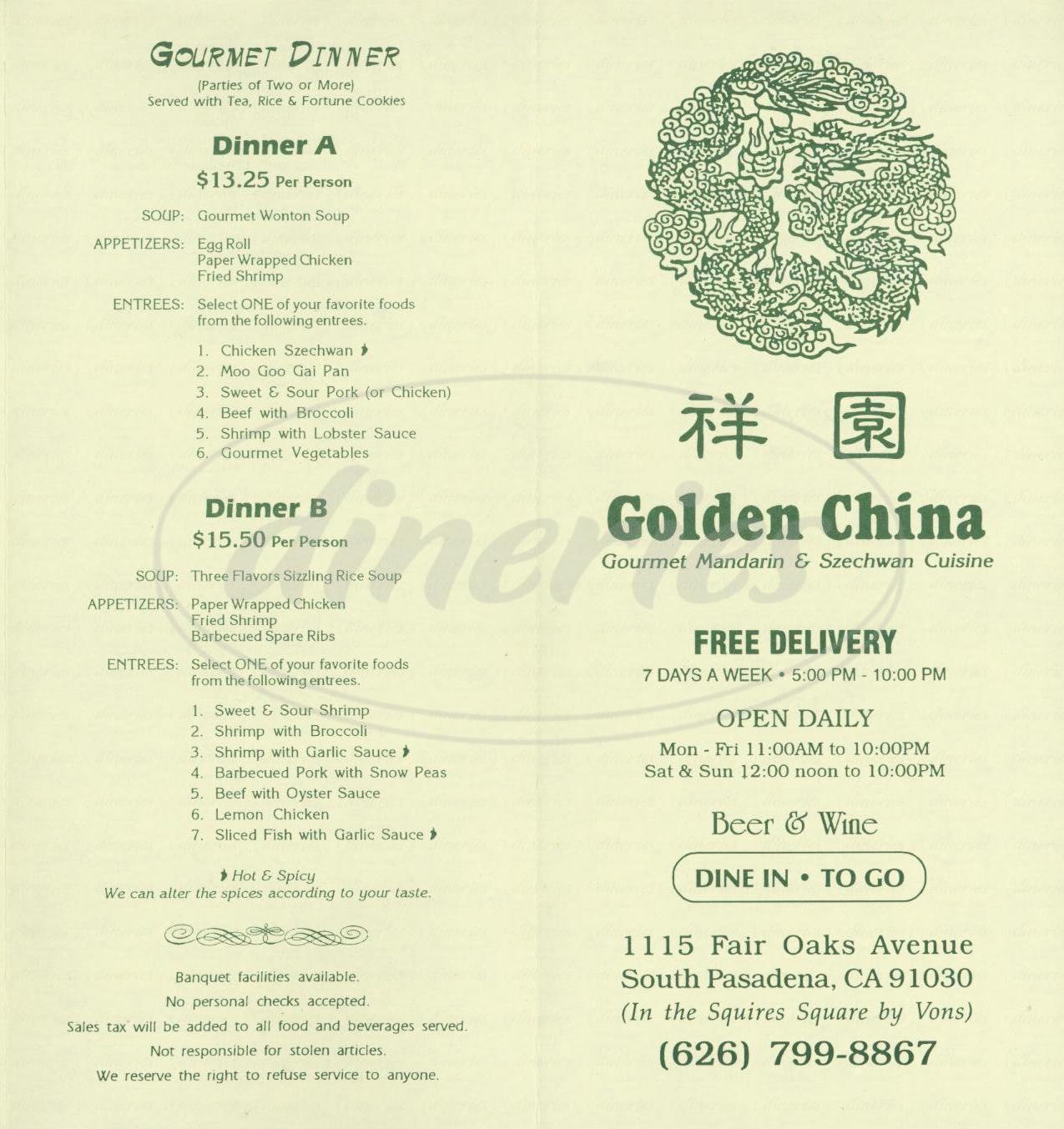 menu for Golden China