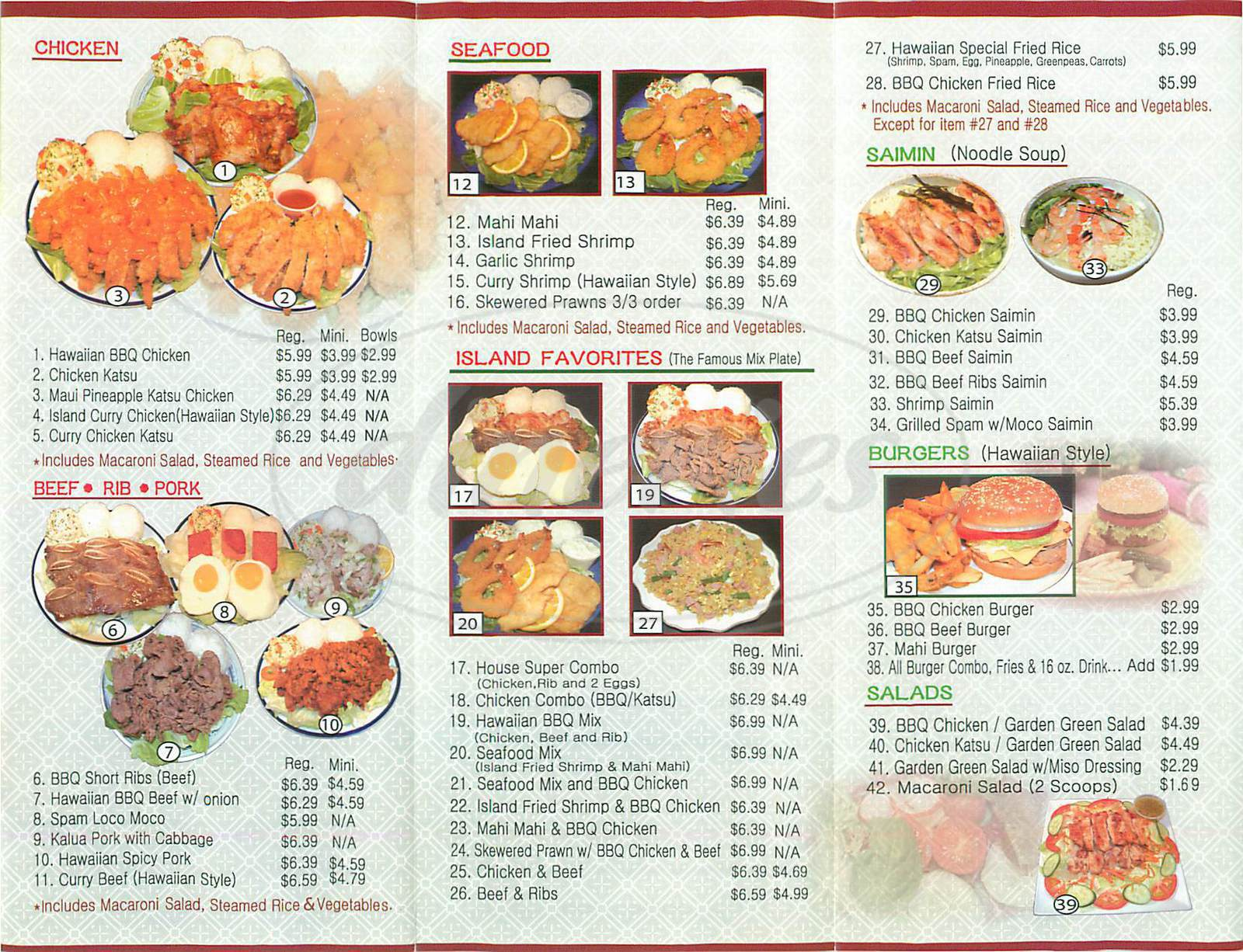 menu for Hawaiian B B Q Kitchen
