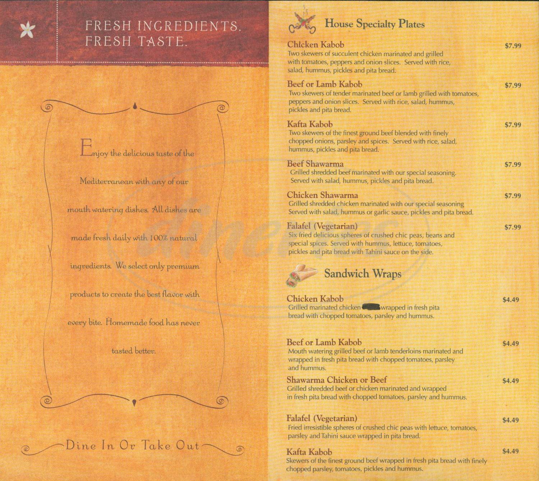 menu for Yasmeen's Mediterranean Cusine