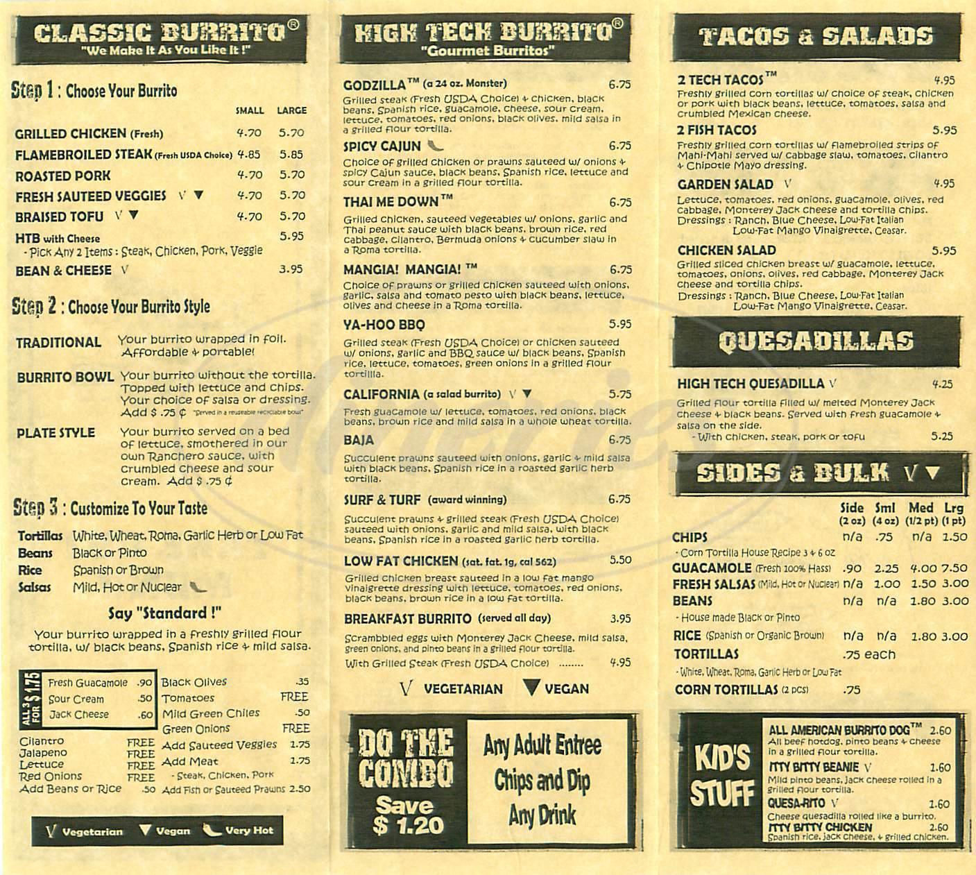 menu for High Tech Burrito