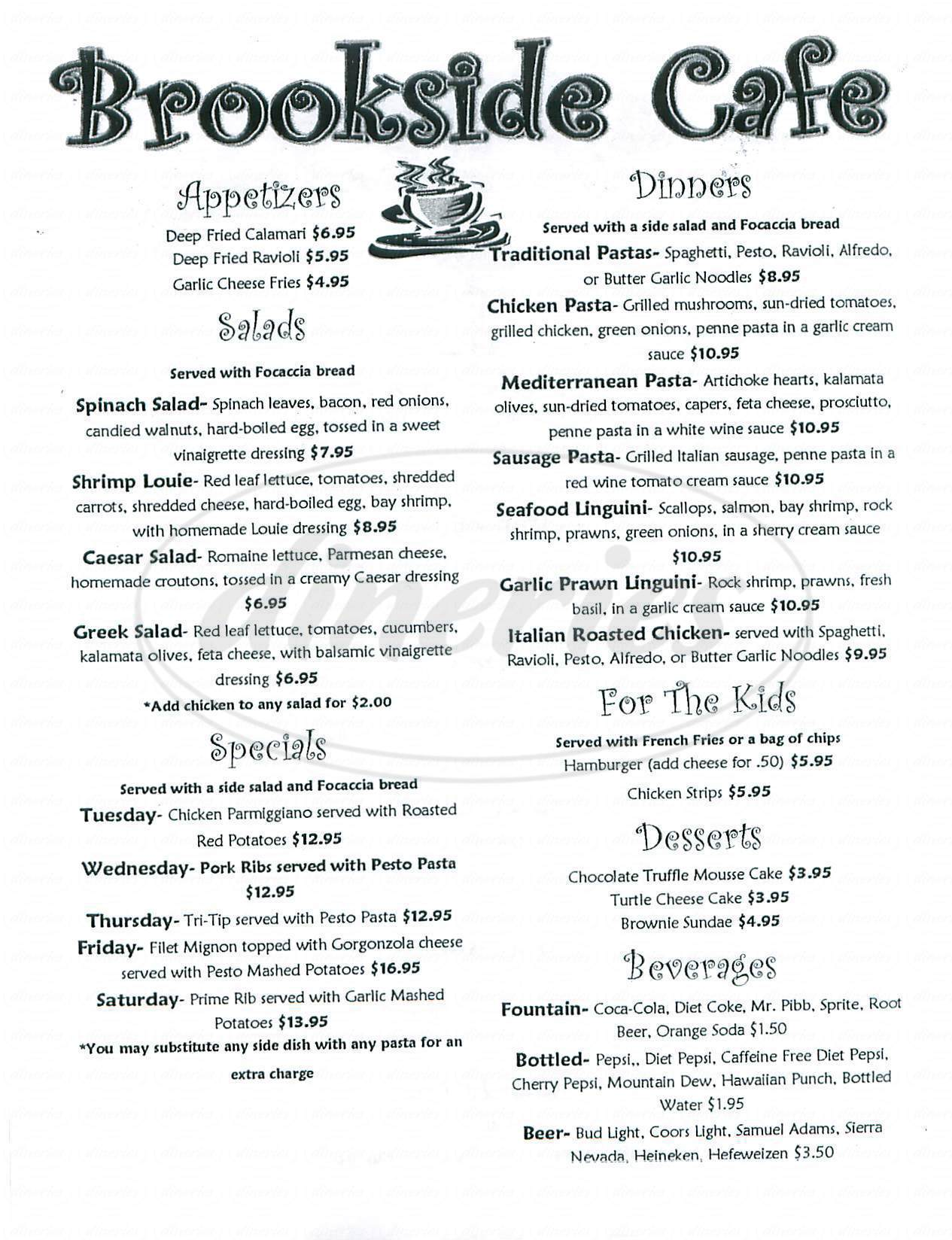 menu for Brookside Café