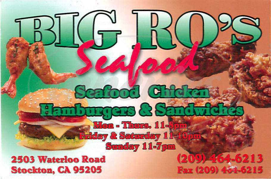 menu for Big Ro's Seafood