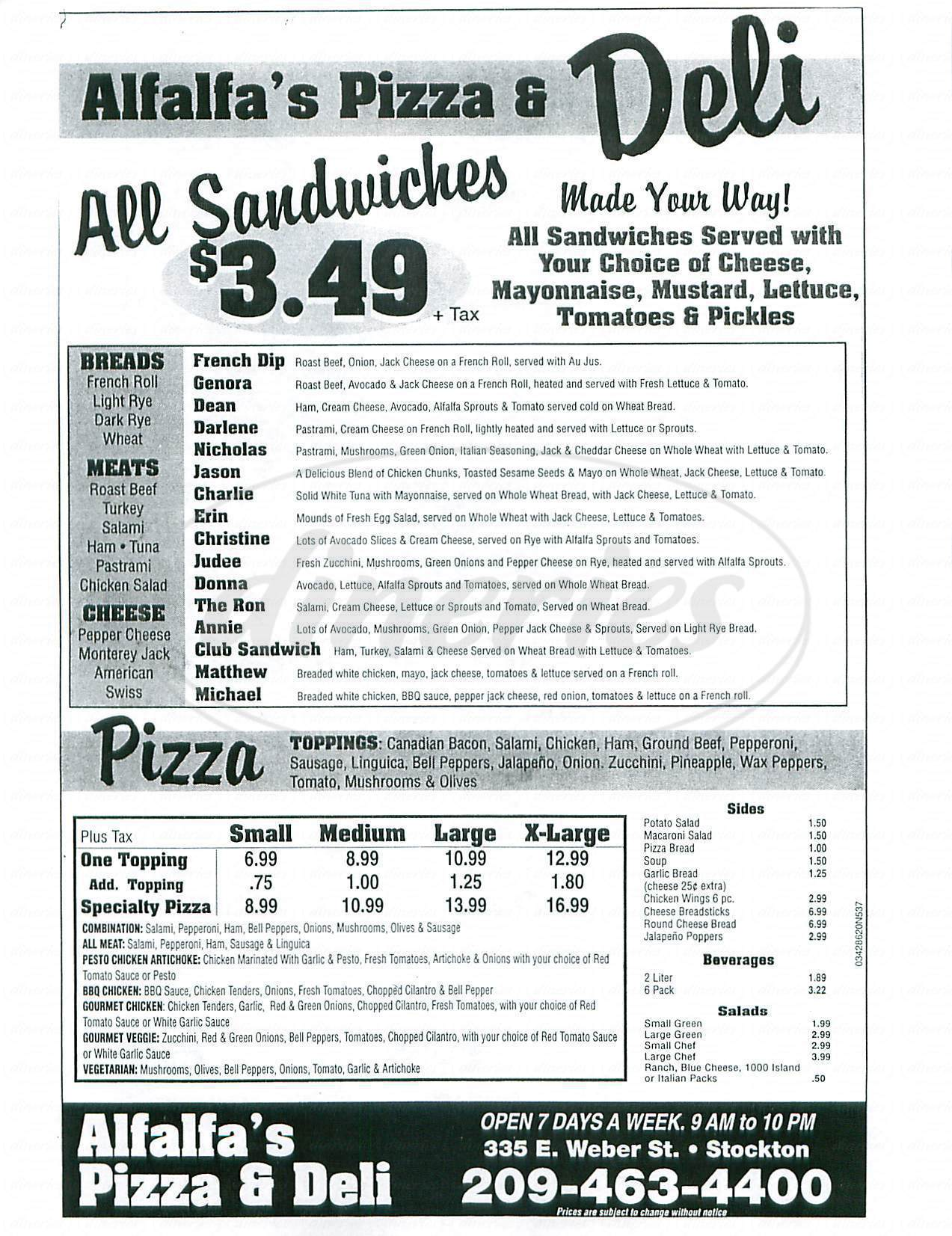 menu for Alfalfas Pizza and Deli