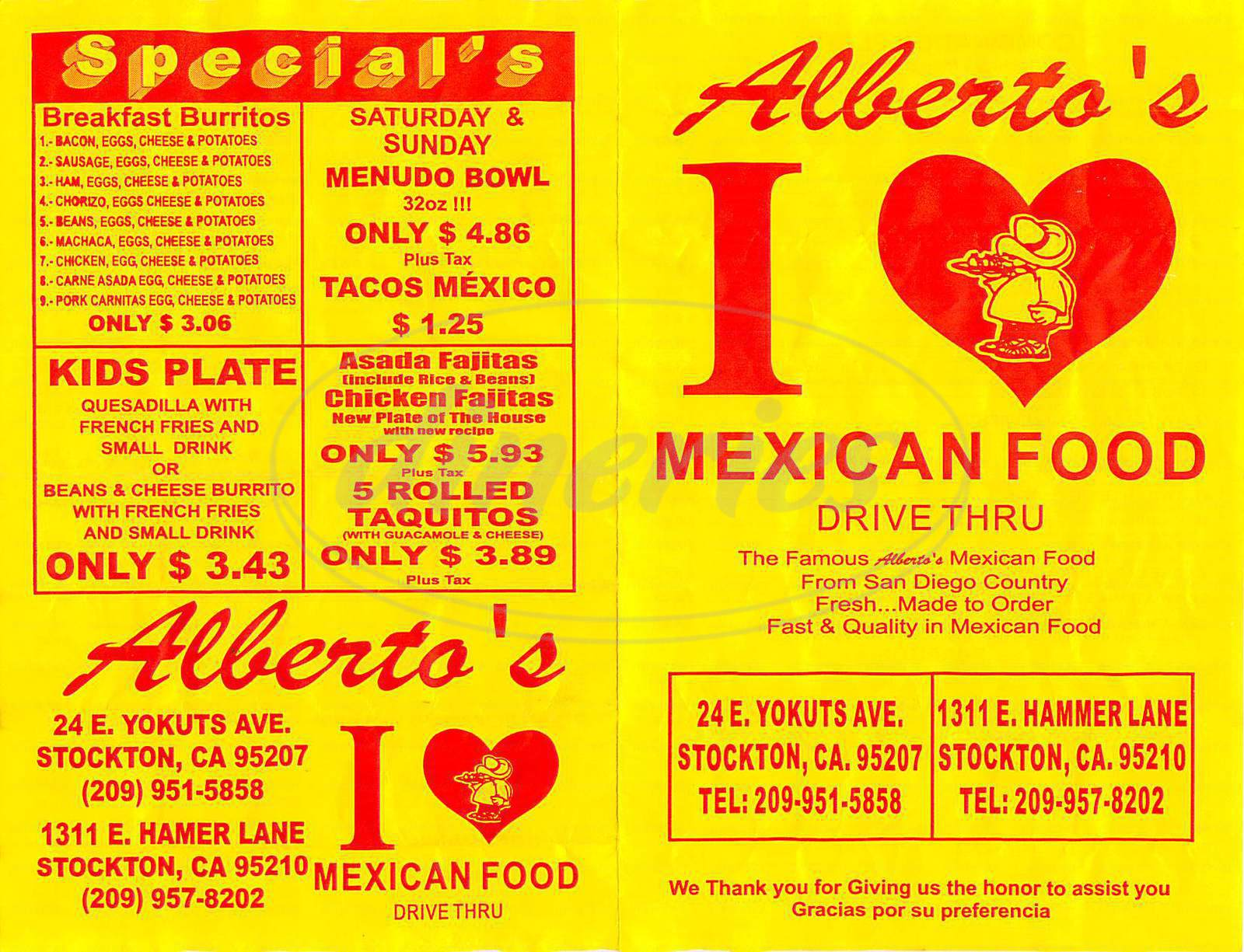 menu for Albertos Mexican Food