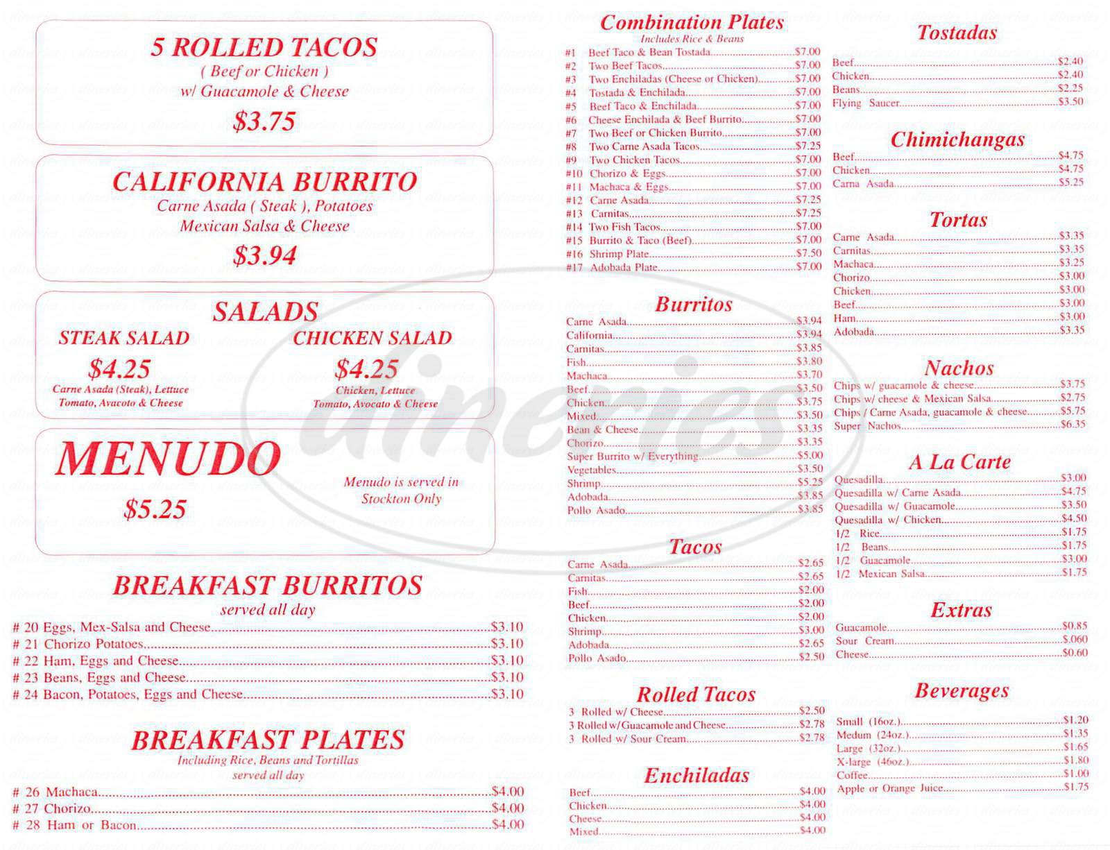 menu for Adalbertos Mexican Food