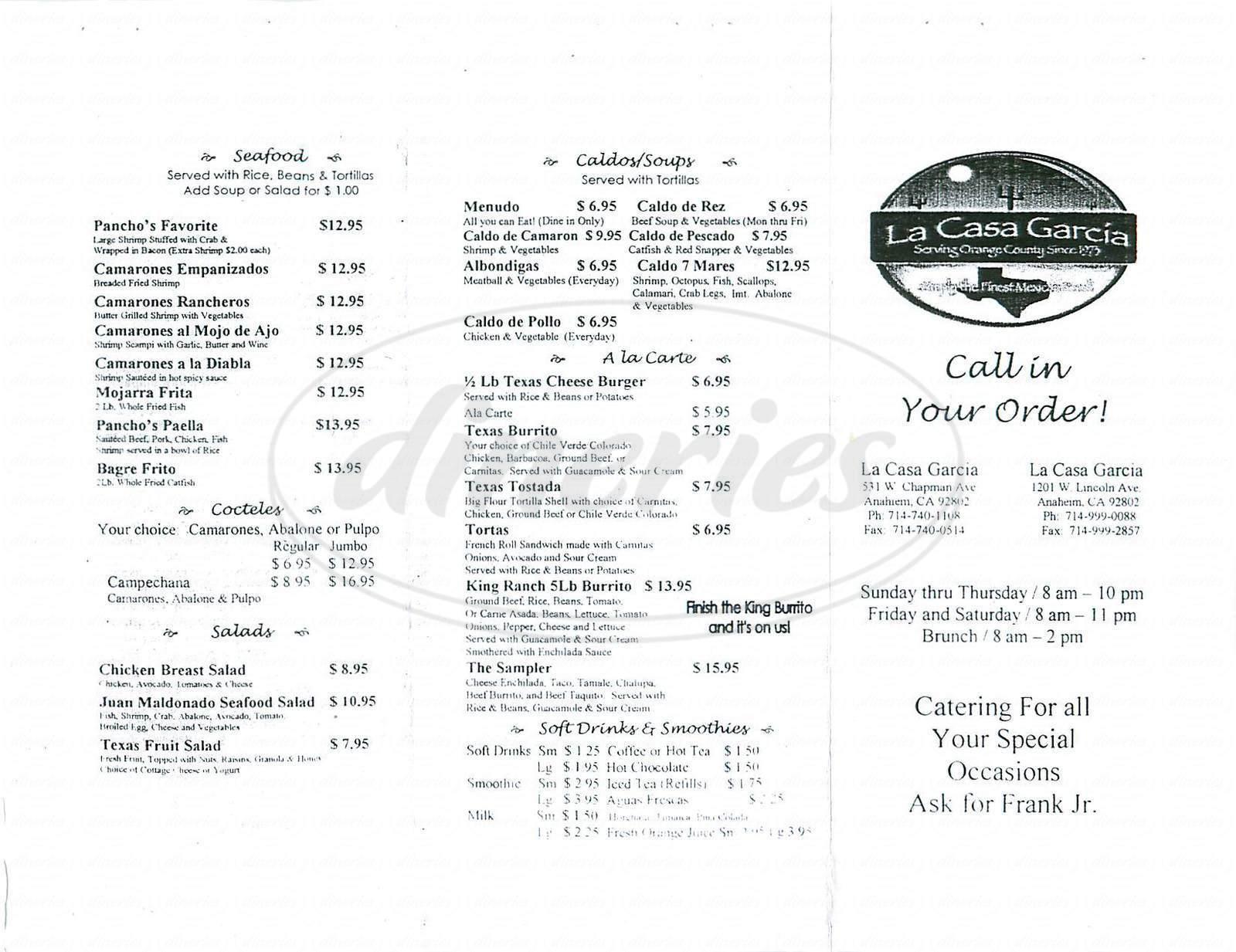 menu for La Casa Garcia