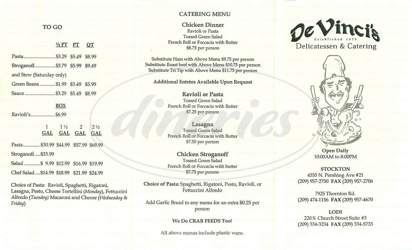 menu for De Vincis Delicatessen & Catering