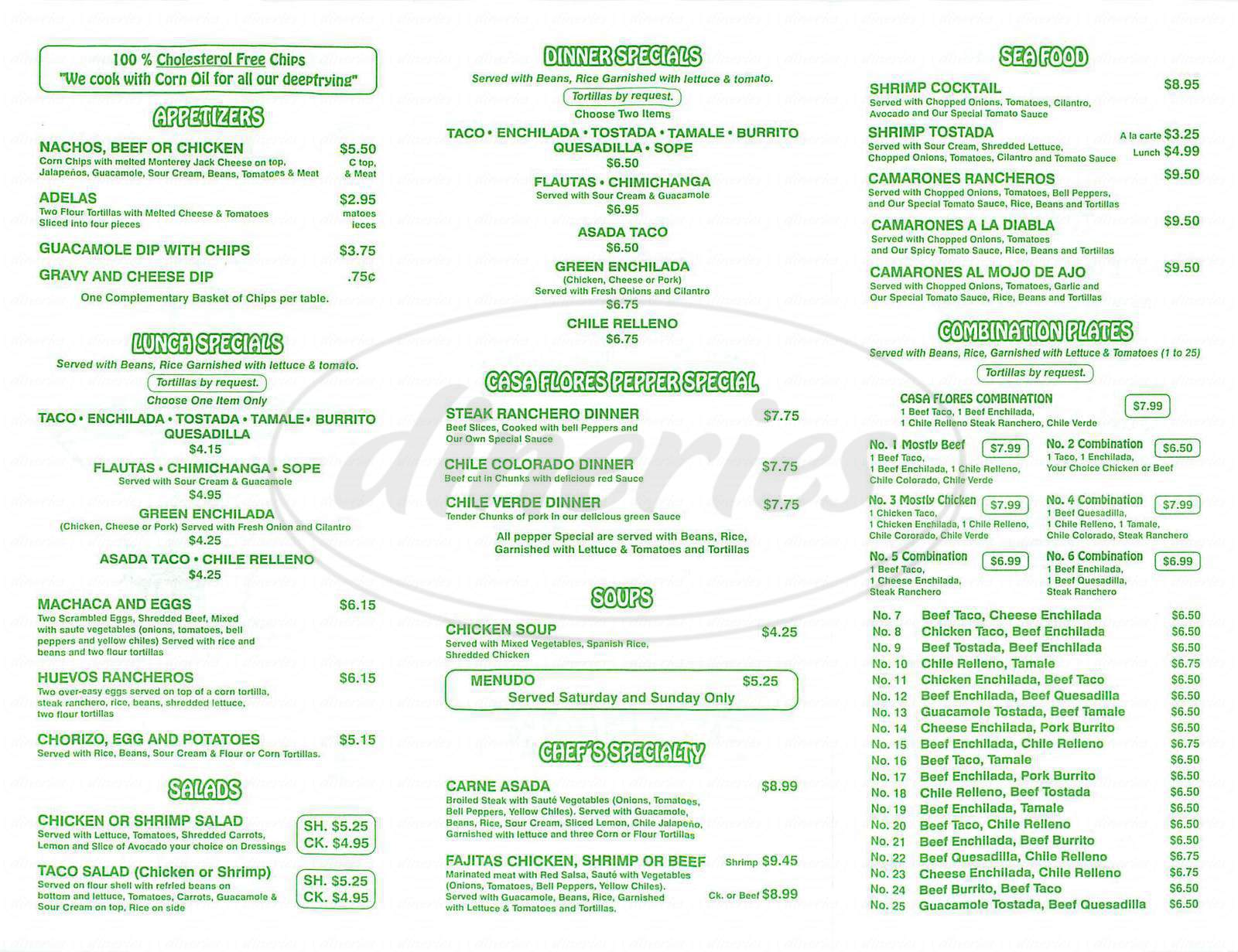 menu for Casa Flores Restaurant