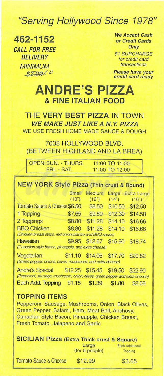menu for Andres Pizza