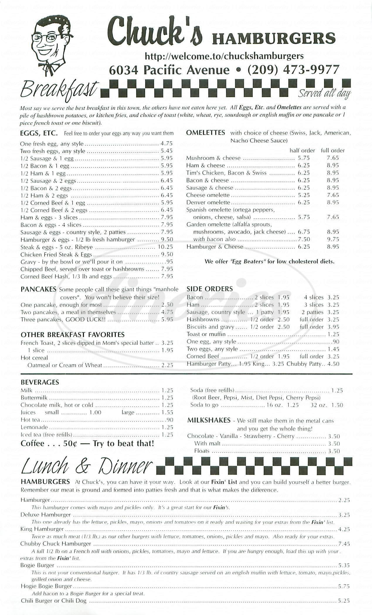 menu for Chucks Hamburgers