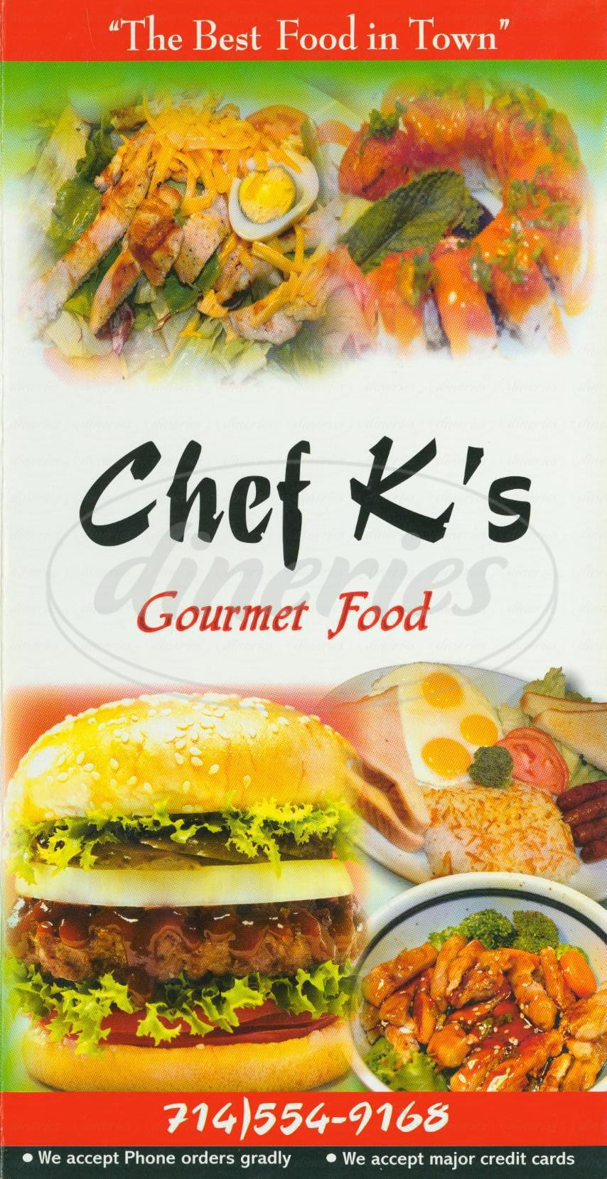 menu for Chef K's Gourmet Food