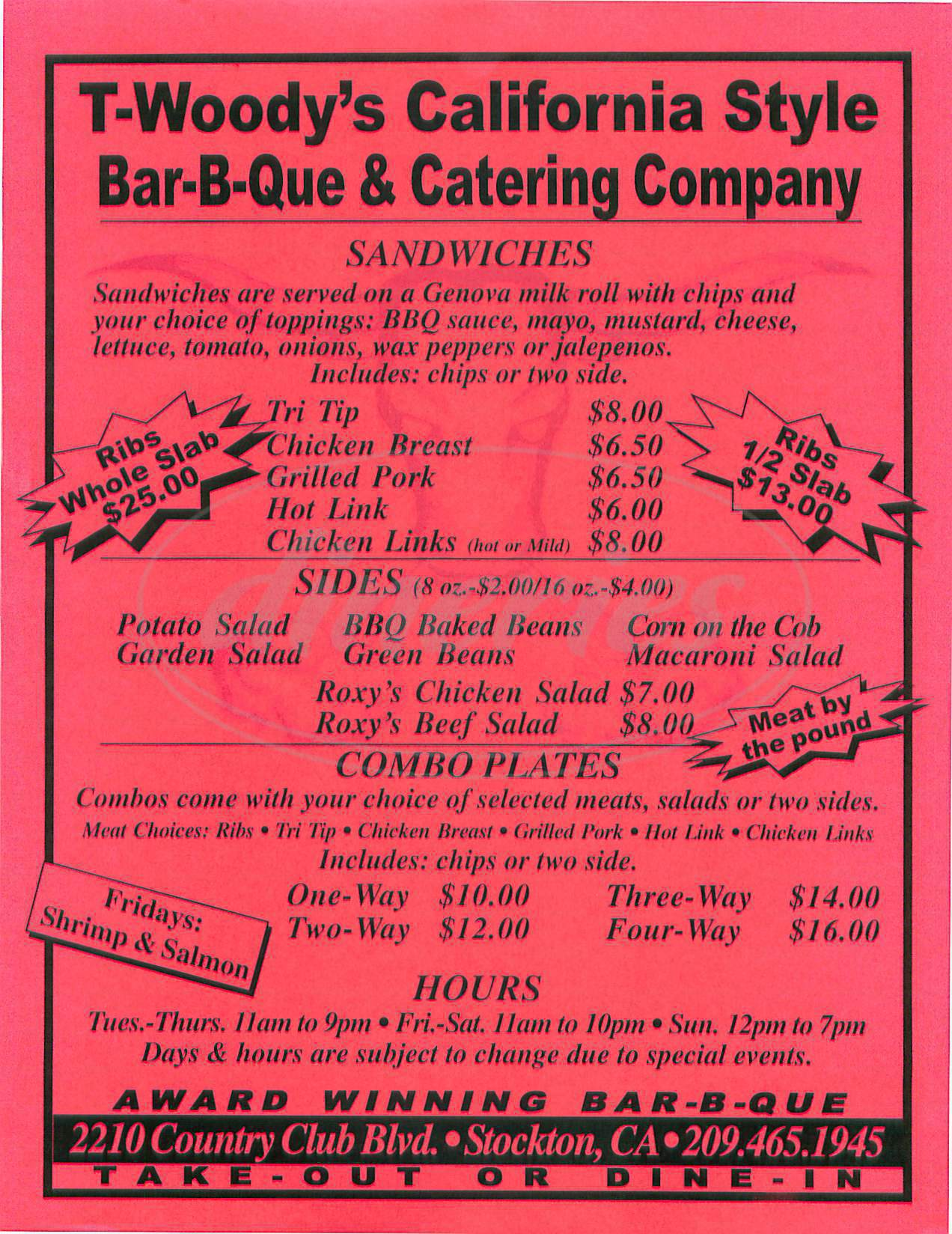 menu for T Woodys California Style Bbq
