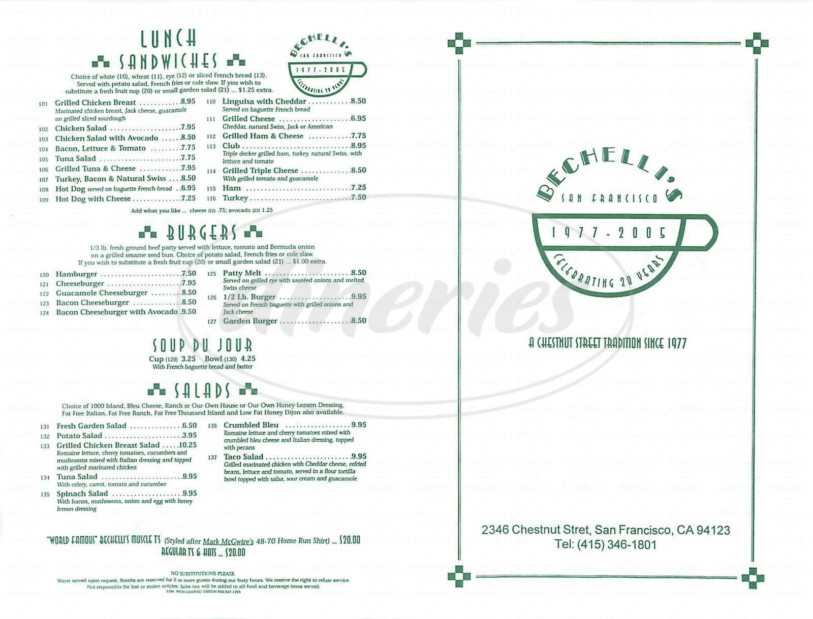 menu for Bechellis Restaurant