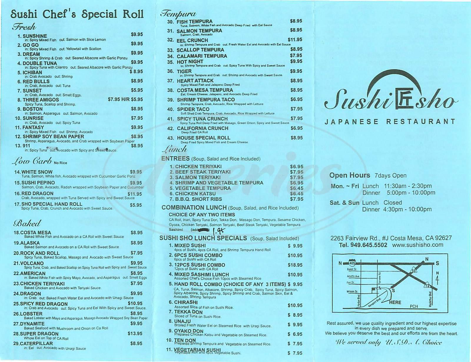 menu for Sushi Sho